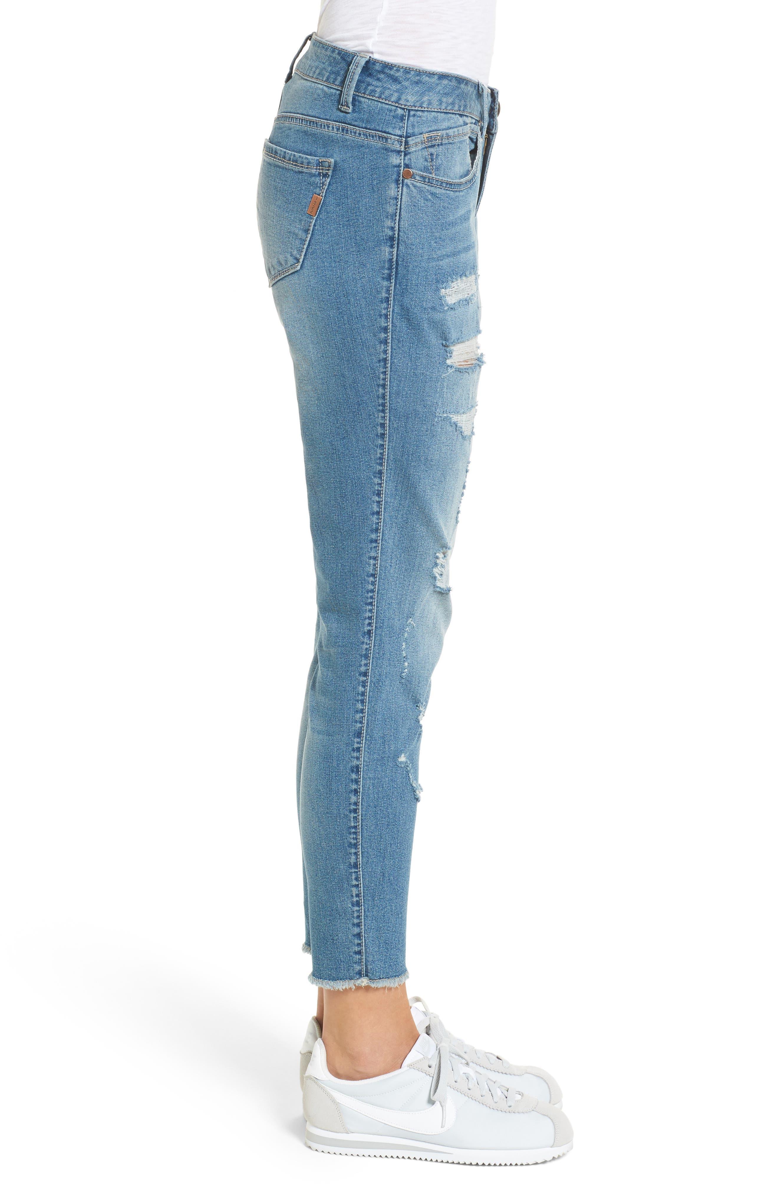 Rip & Repair Ankle Skinny Jeans,                             Alternate thumbnail 3, color,                             Pearl Jam