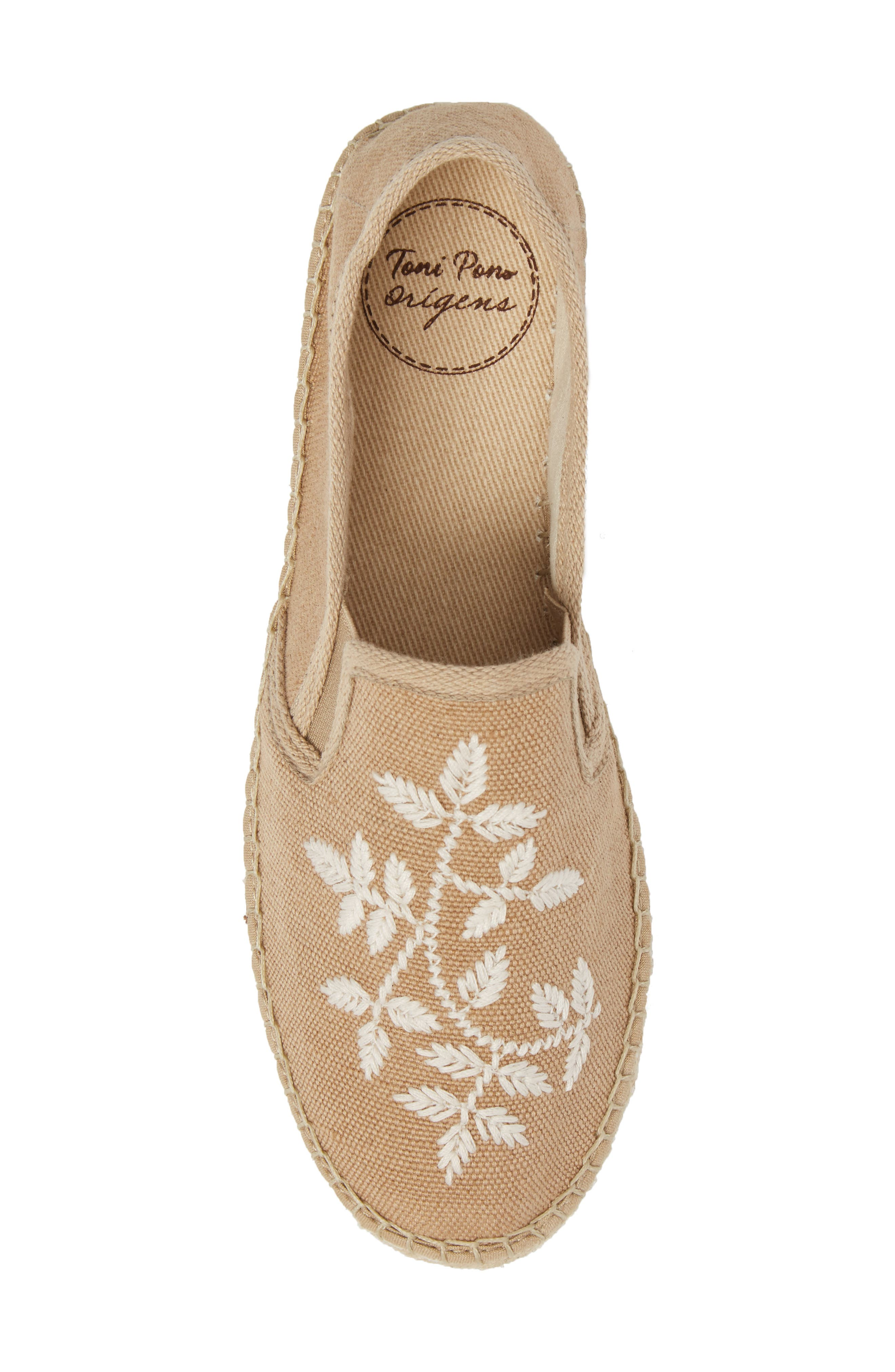Florence Embroidered Platform Espadrille Sneaker,                             Alternate thumbnail 5, color,                             Tobacco Fabric
