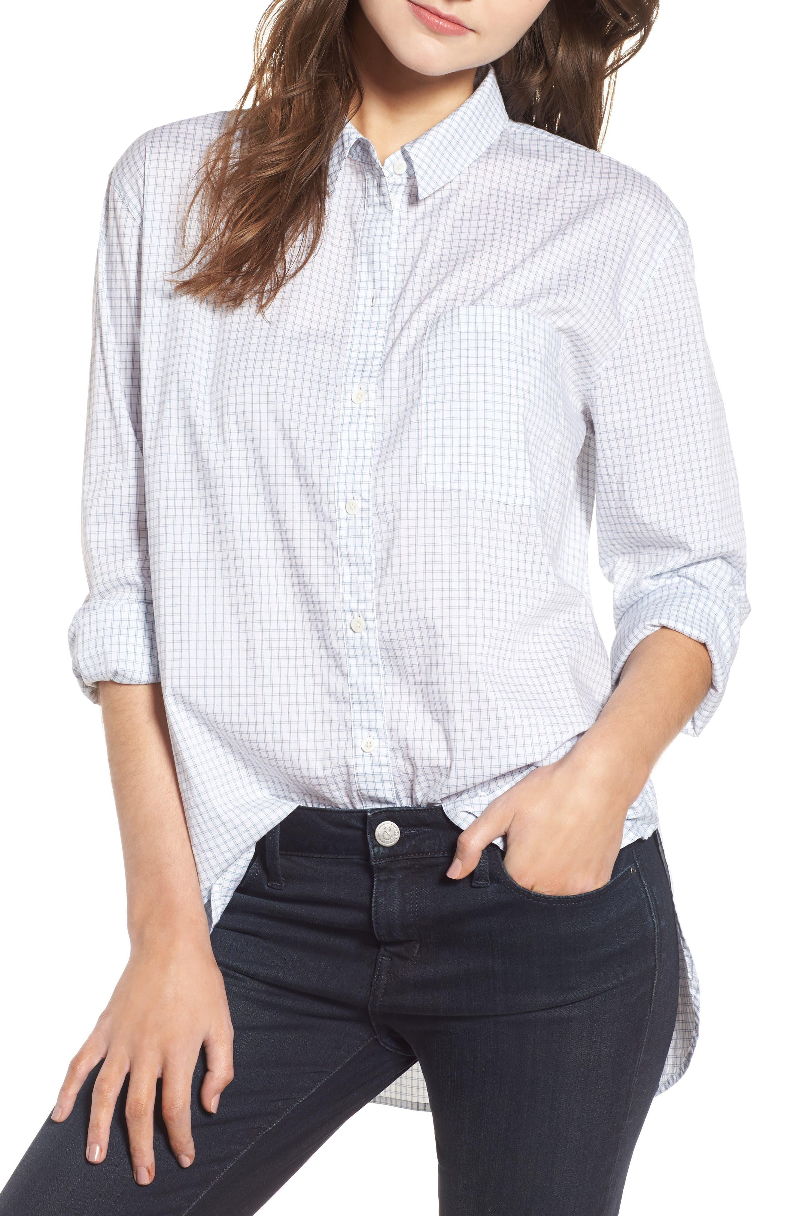 Oversize Check Shirt,                             Main thumbnail 1, color,                             White Blue Poplin Check