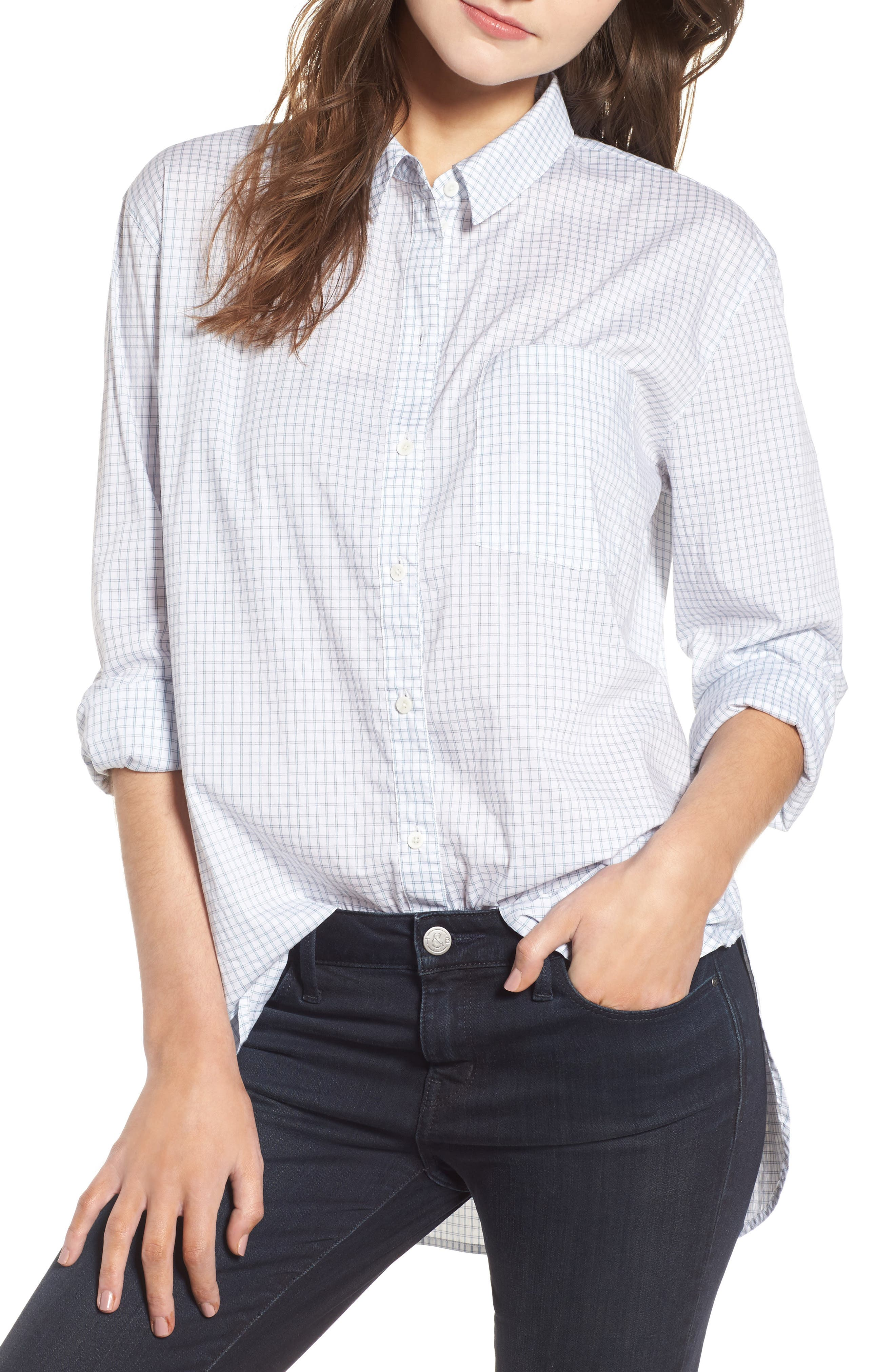 Oversize Check Shirt,                         Main,                         color, White Blue Poplin Check