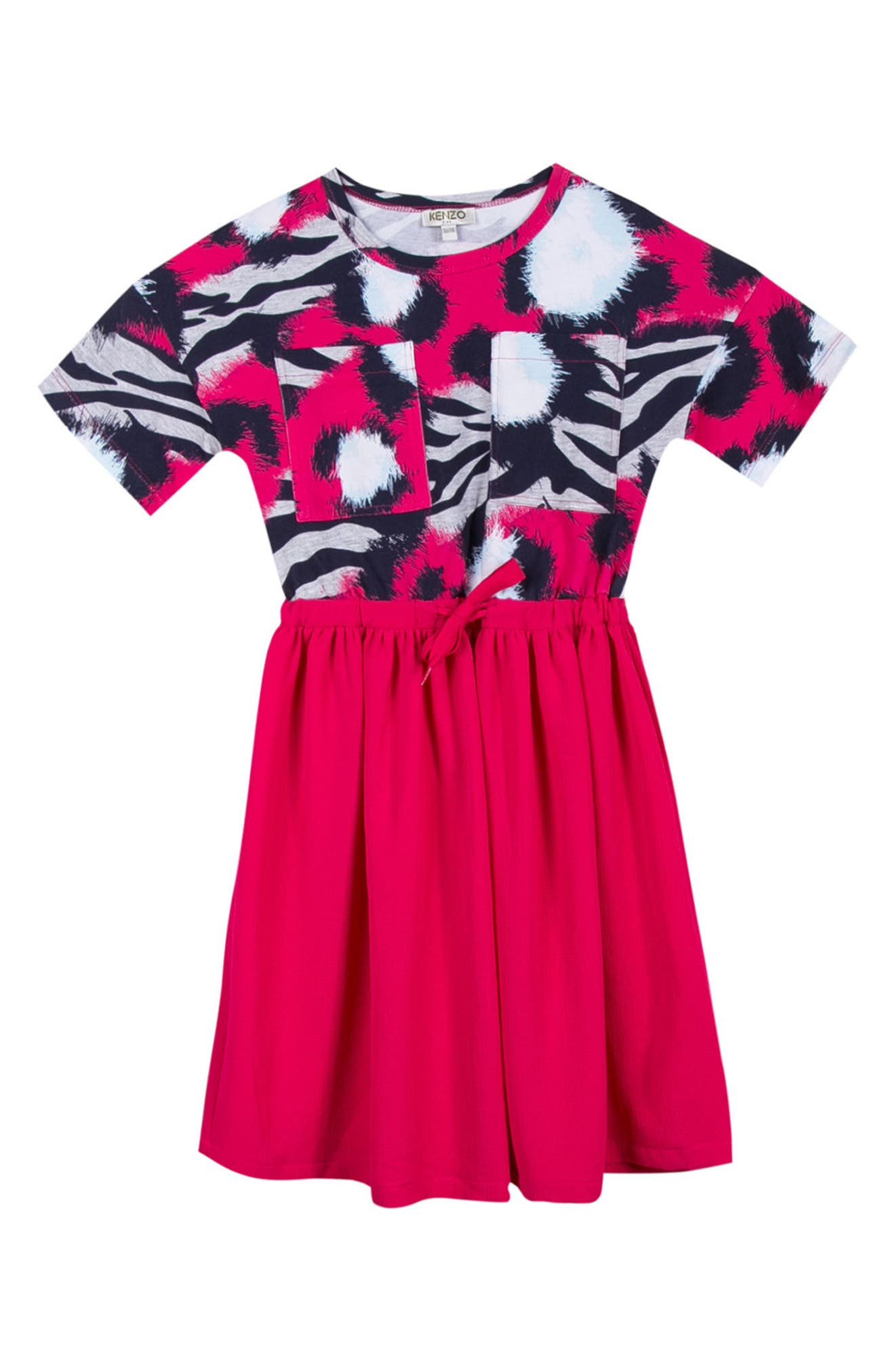 Short Sleeve Dress,                         Main,                         color, Fuchsia