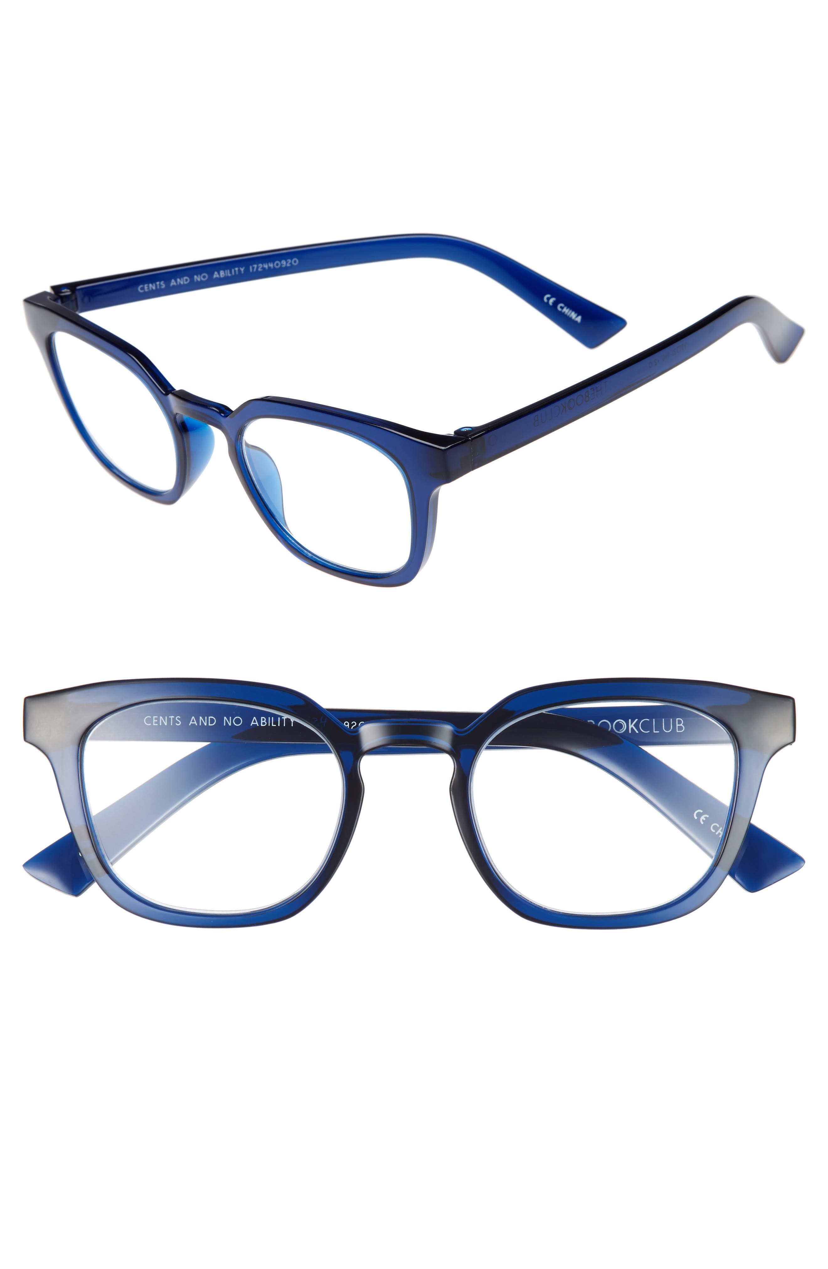 Cents and No Ability 48mm Blue Light Filter Glasses,                         Main,                         color, Ink
