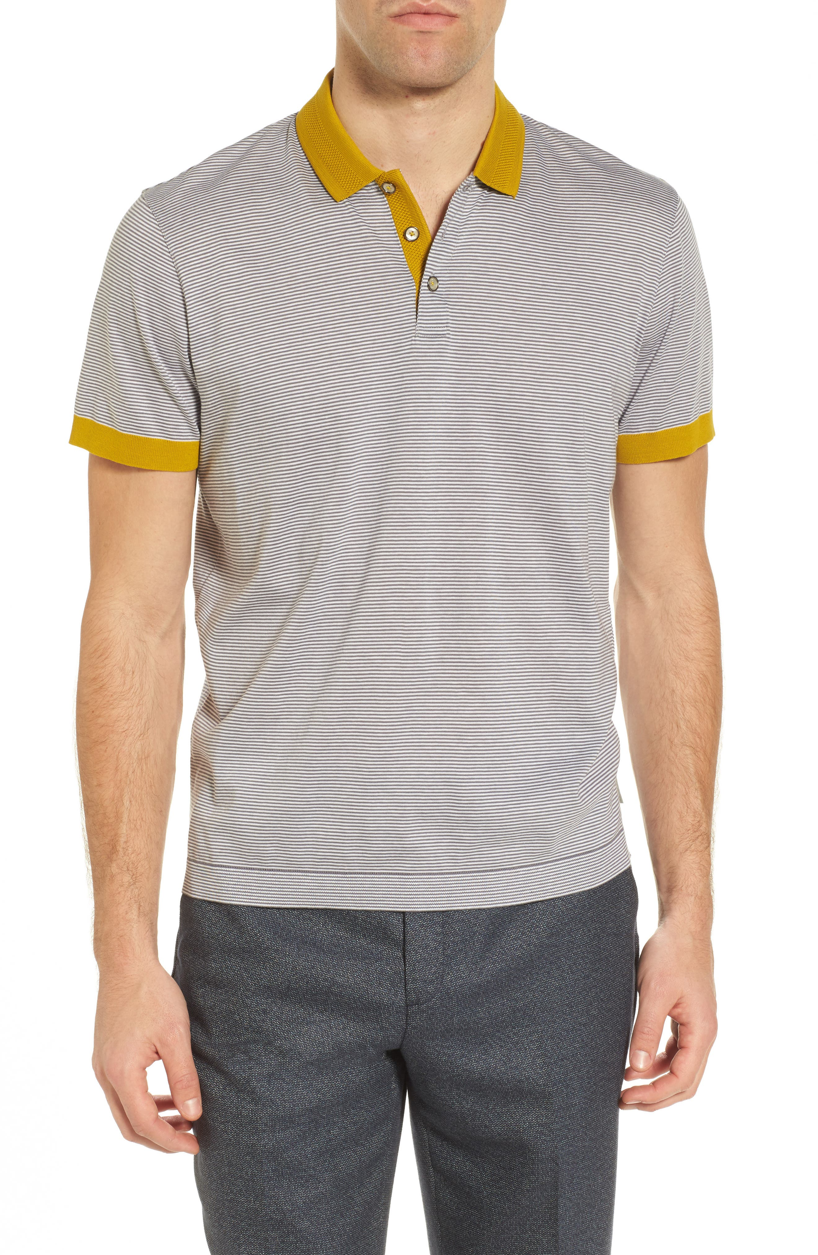 Beagle Trim Fit Stripe Jersey Polo,                         Main,                         color, Grey