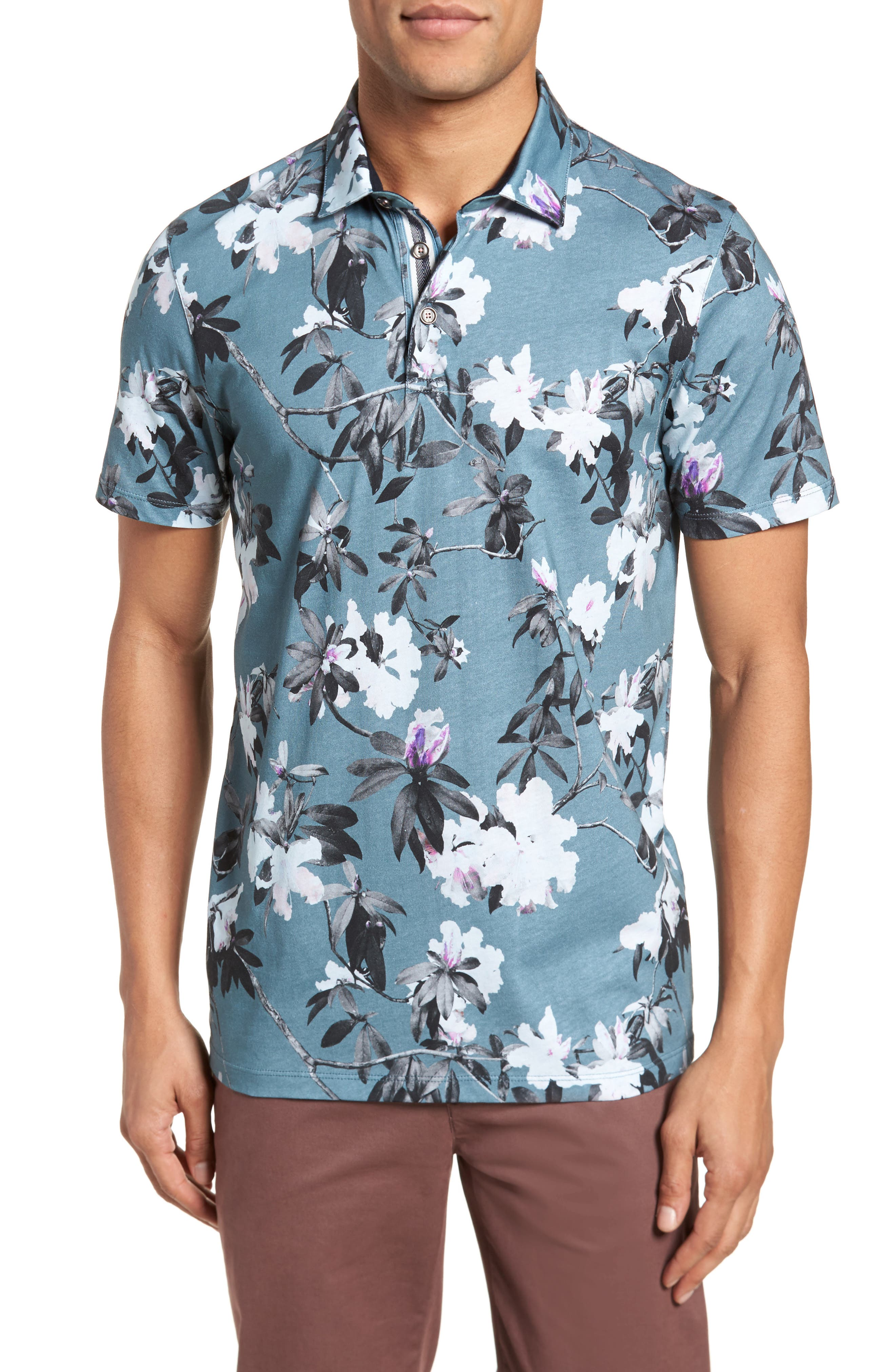 Scruff Trim Fit Floral Print Polo,                         Main,                         color, Teal