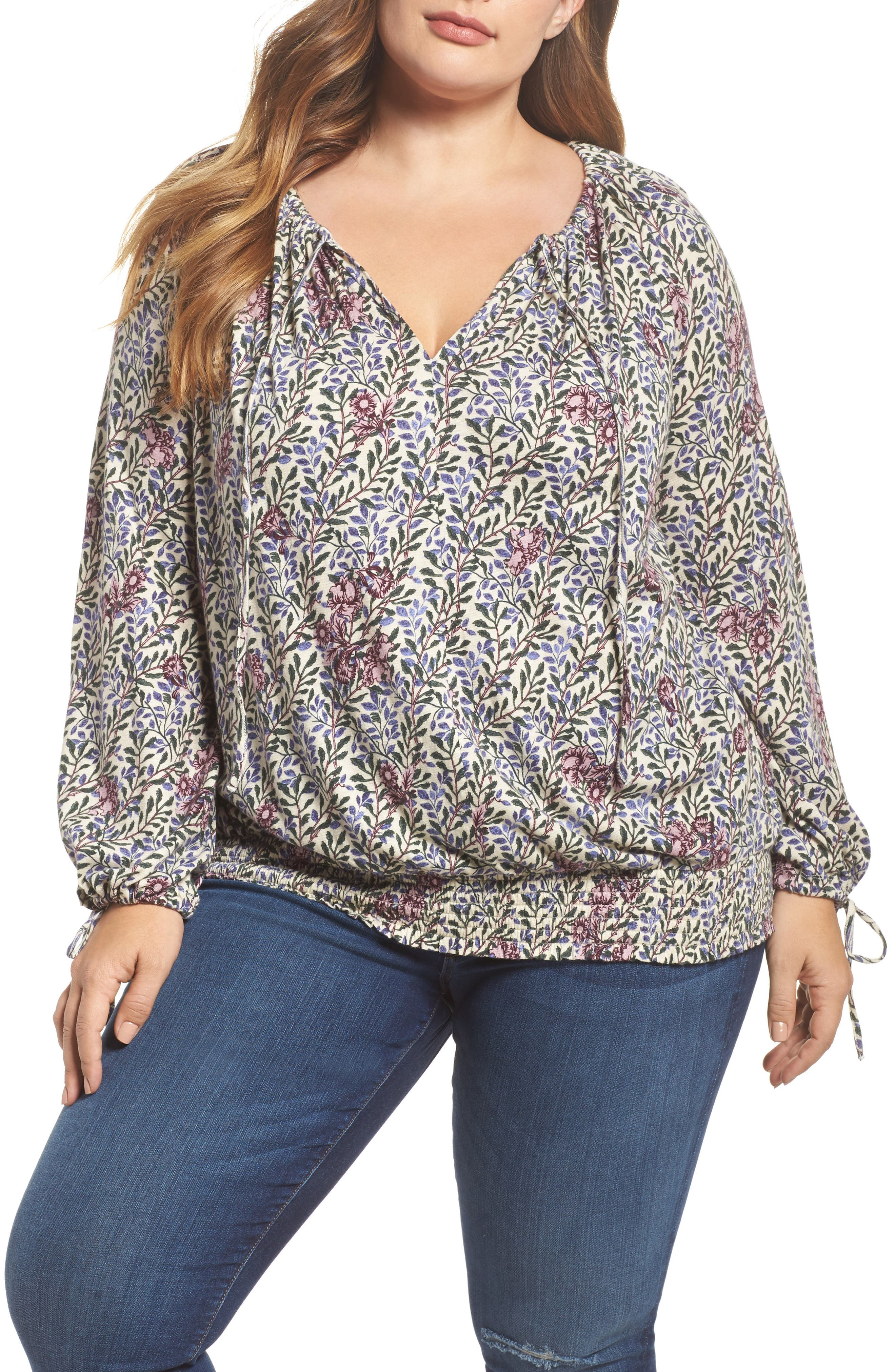 Alternate Image 1 Selected - Lucky Brand Print Smocked Peasant Top (Plus Size)
