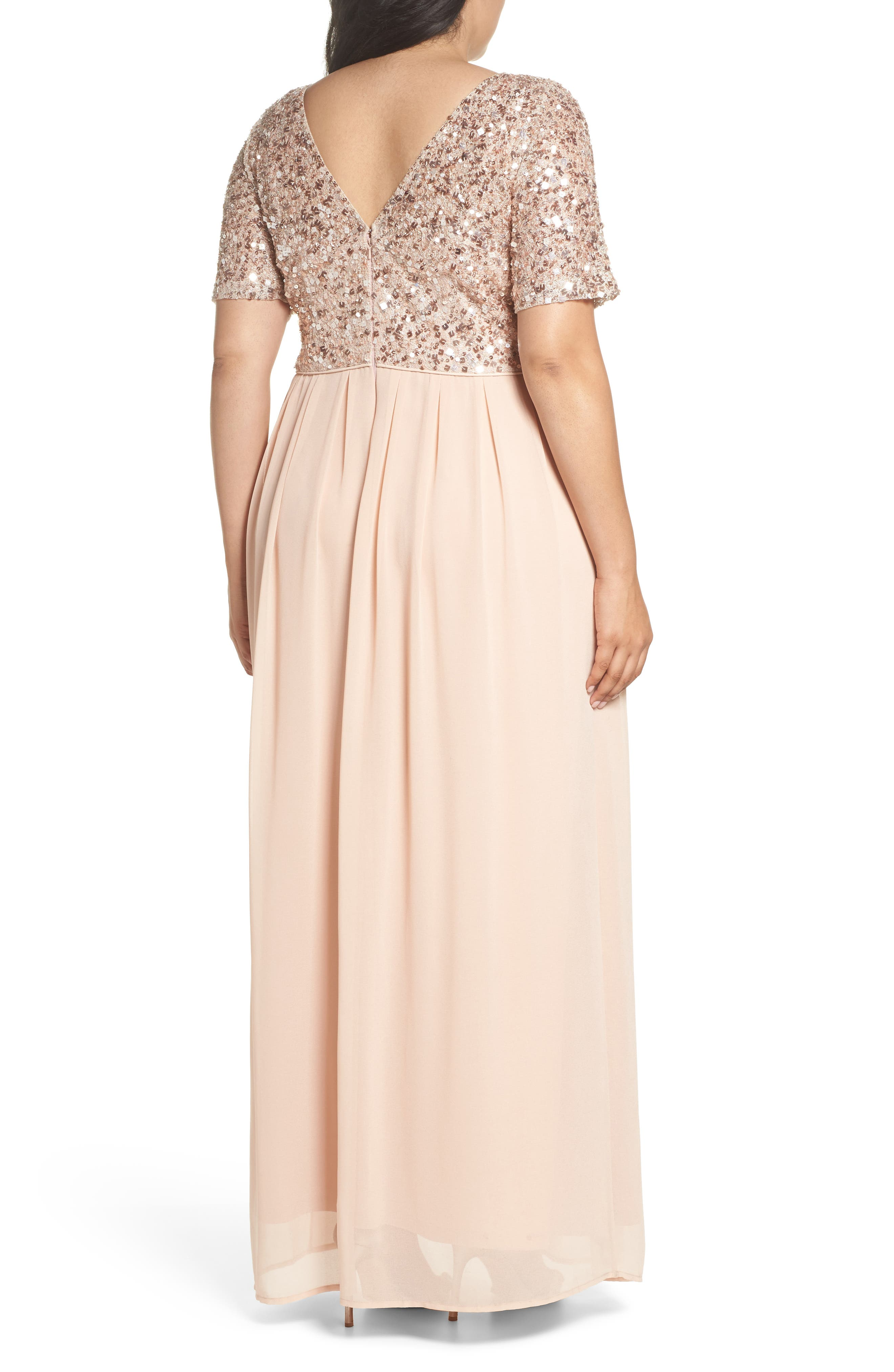 Beaded Metallic Lace Gown,                             Alternate thumbnail 2, color,                             English Rose