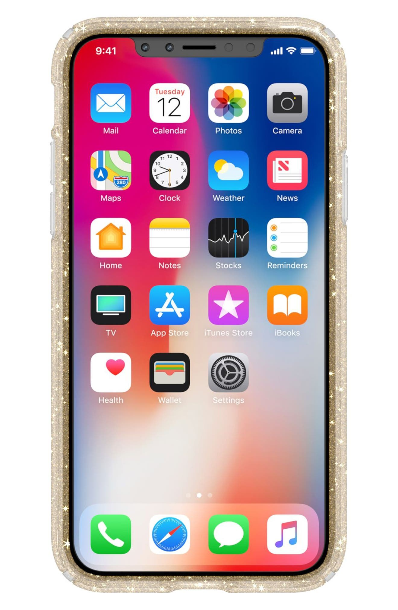 Transparent iPhone X Case,                             Alternate thumbnail 8, color,                             Clear With Gold Glitter/ Clear