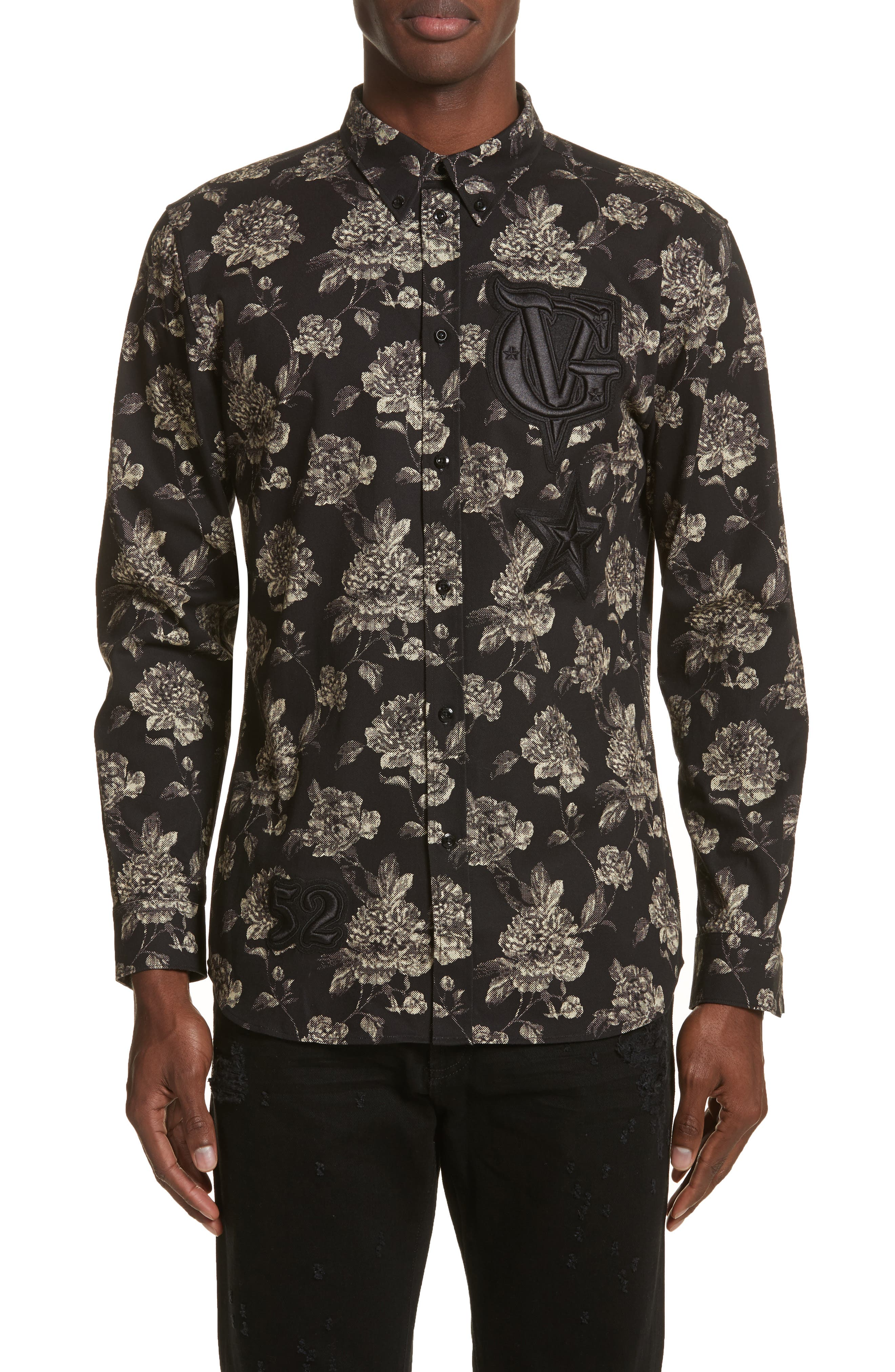 Floral Print Shirt,                             Main thumbnail 1, color,                             Black