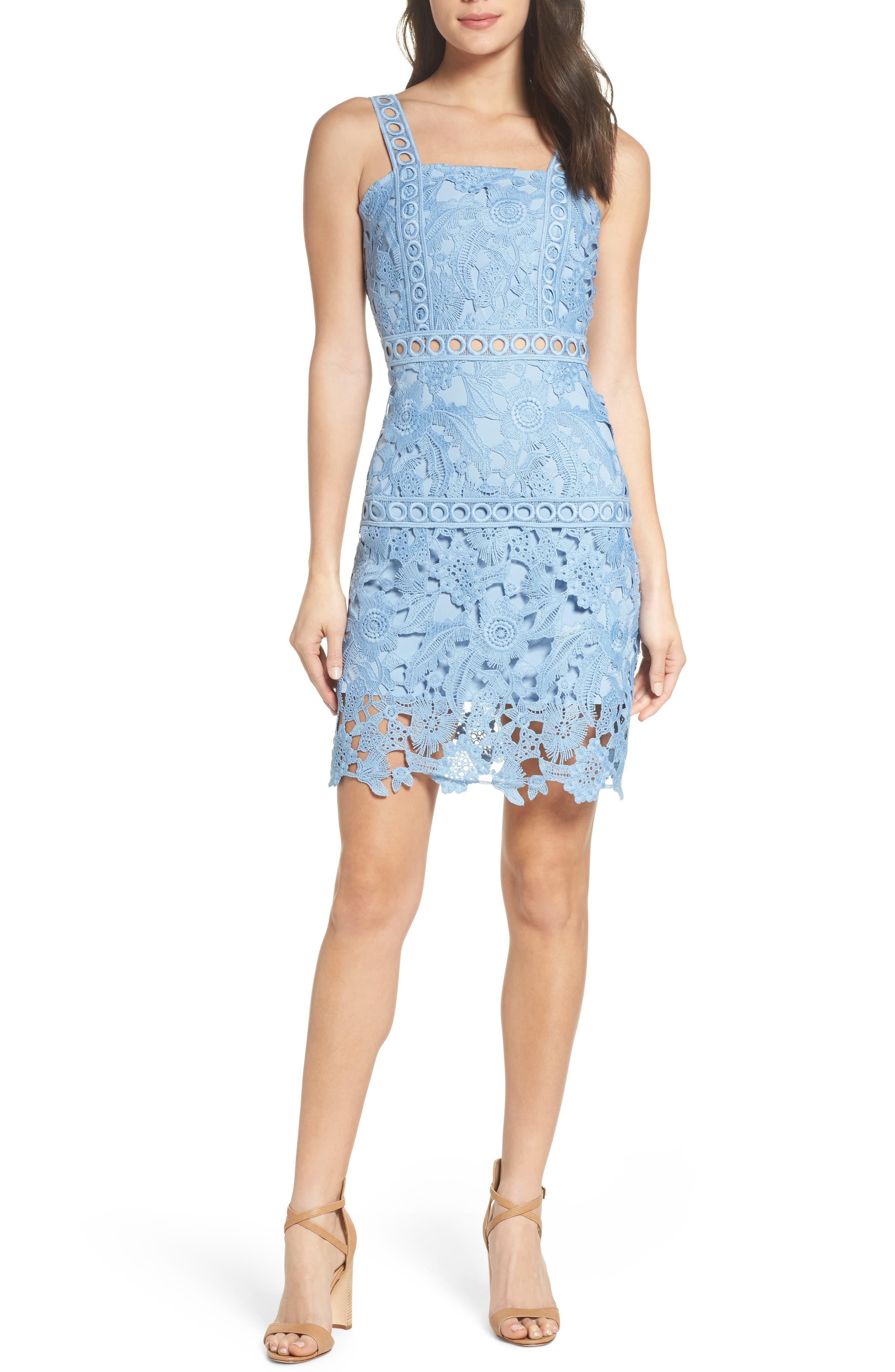 Lace Sheath Dress,                         Main,                         color, Periwinkle