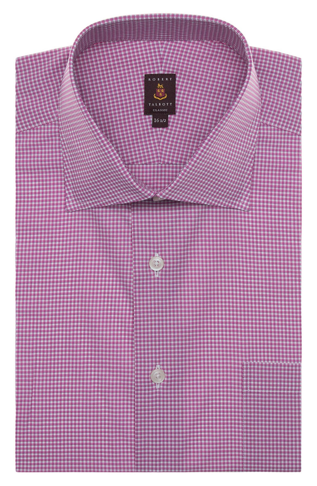 Tailored Fit Check Dress Shirt,                         Main,                         color, Fuchsia