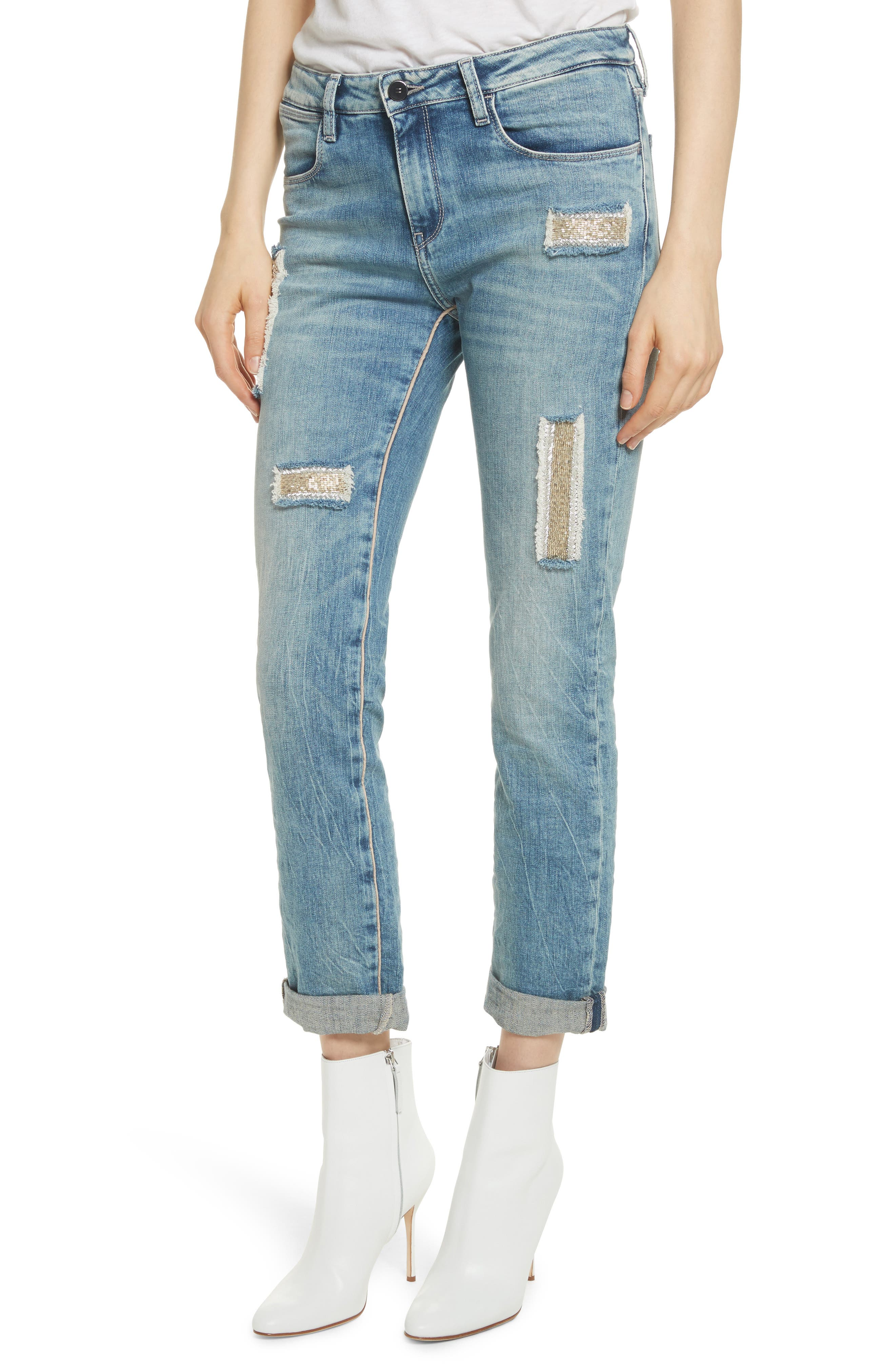 Embellished Boyfriend Jeans,                             Alternate thumbnail 4, color,                             Blue Berry