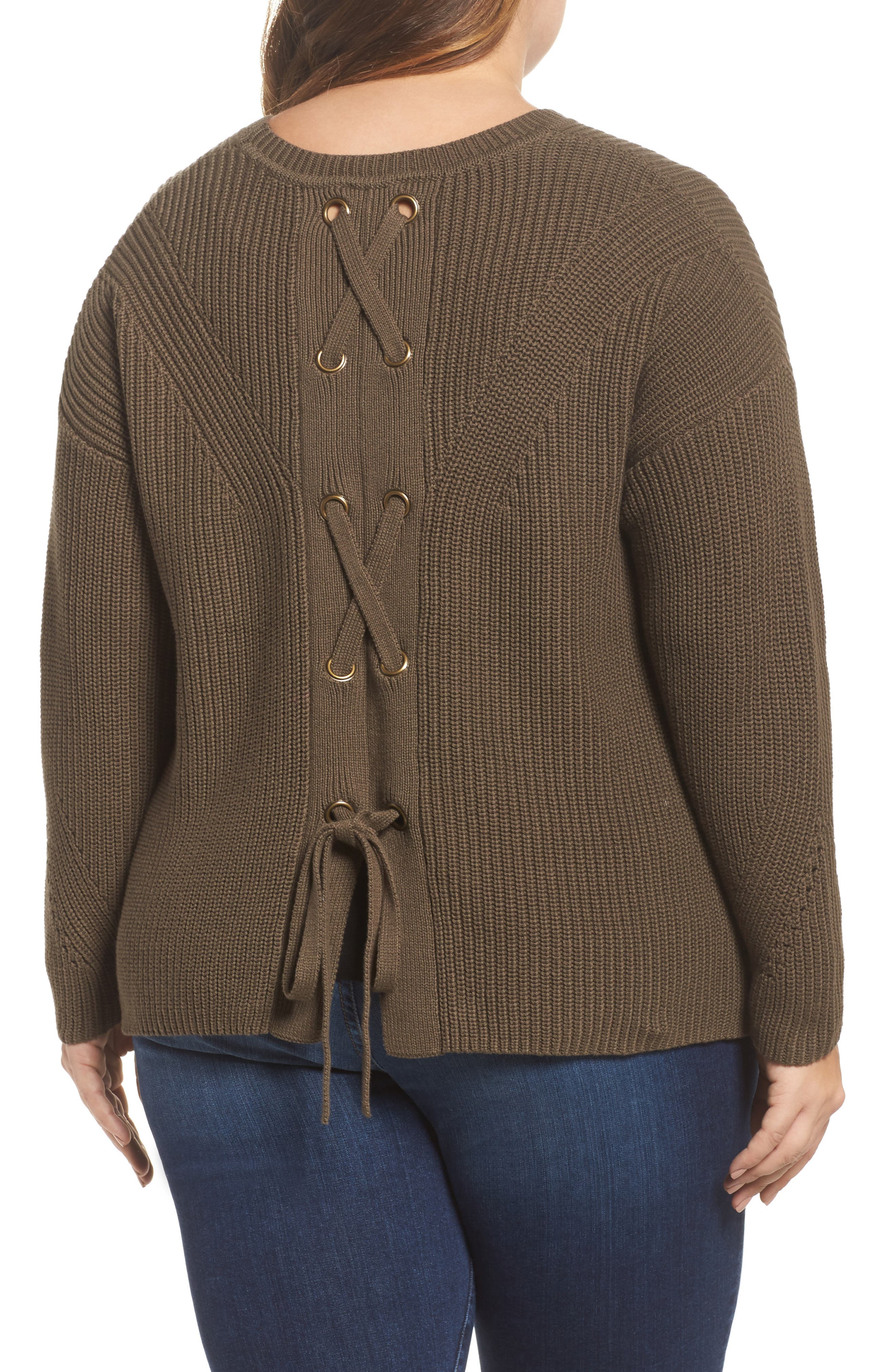 Lace-Up Back Sweater,                             Alternate thumbnail 2, color,                             Olive