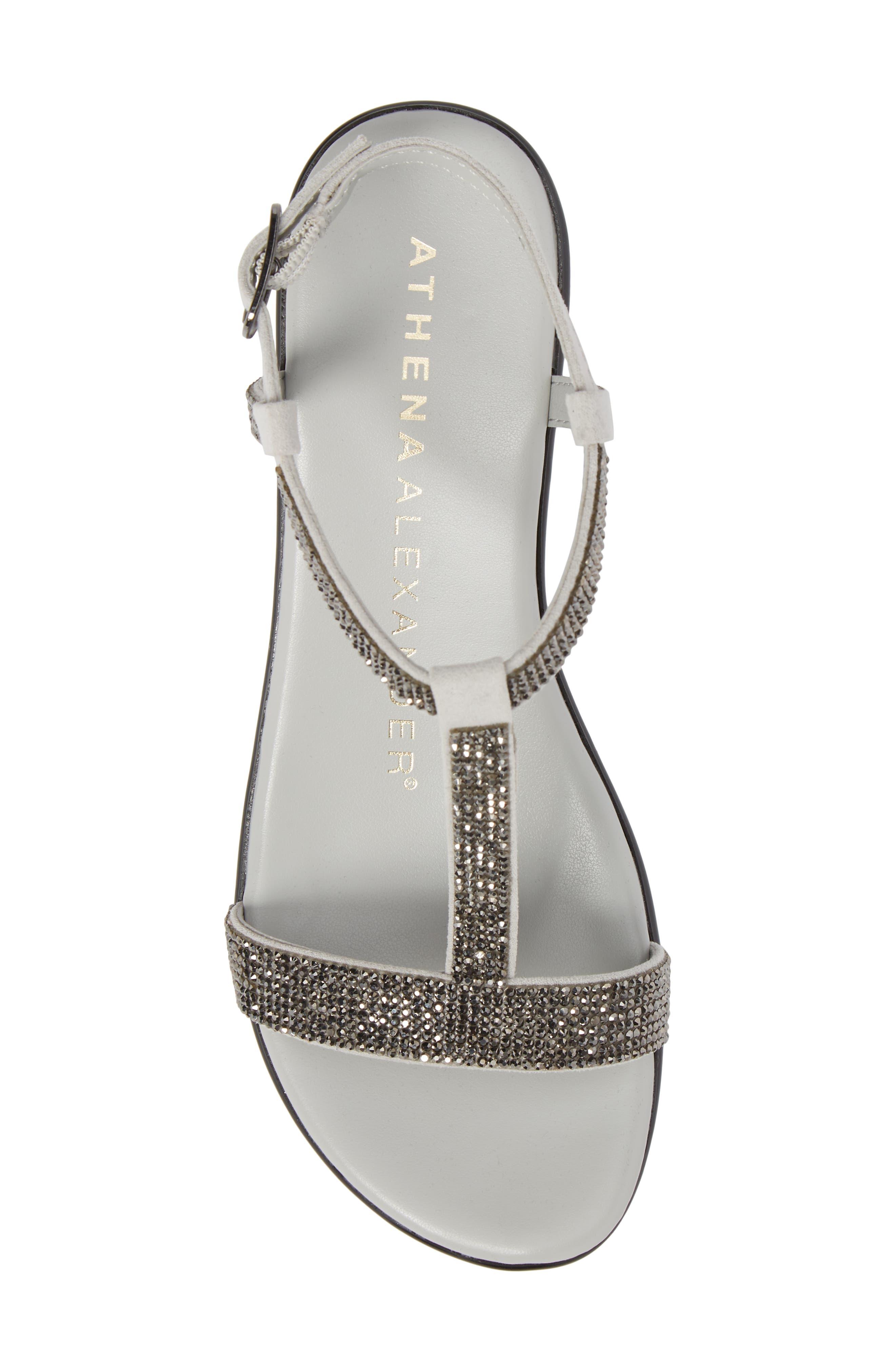 Athena Alexandar Karinya Embellished Strappy Wedge Sandal,                             Alternate thumbnail 5, color,                             Grey Suede