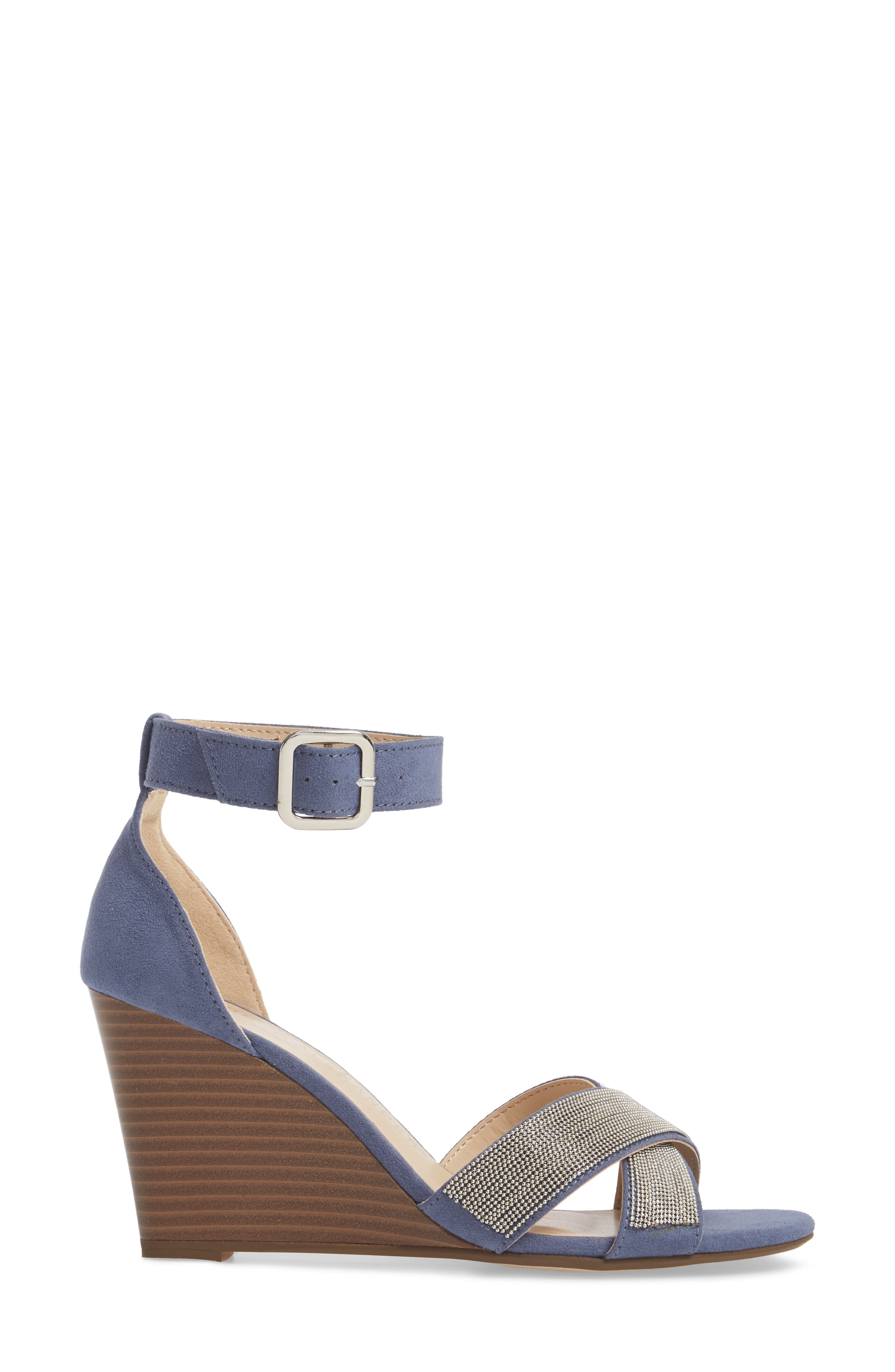 Zorra Wedge Sandal,                             Alternate thumbnail 3, color,                             Blue Suede