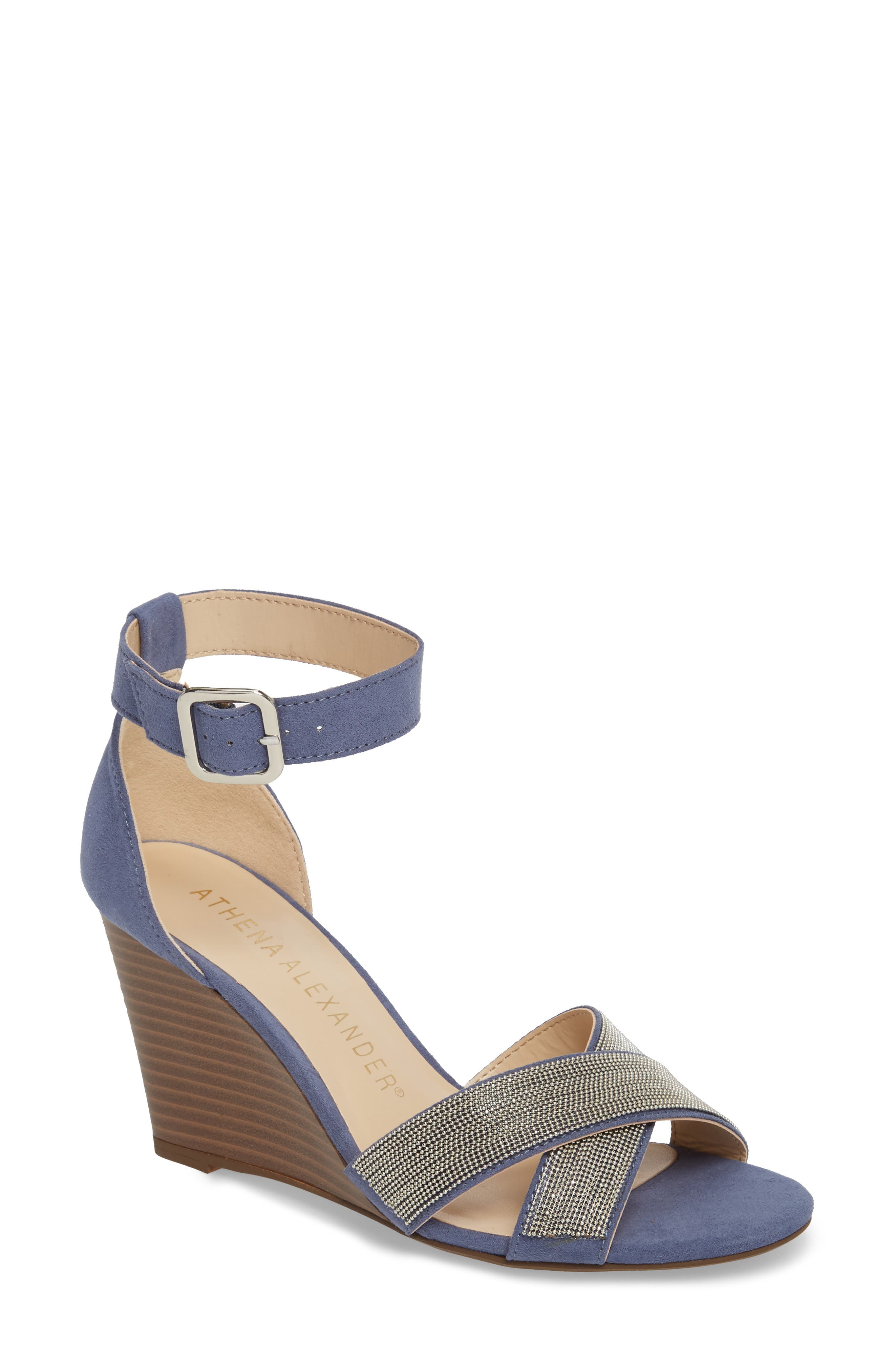 Zorra Wedge Sandal,                         Main,                         color, Blue Suede