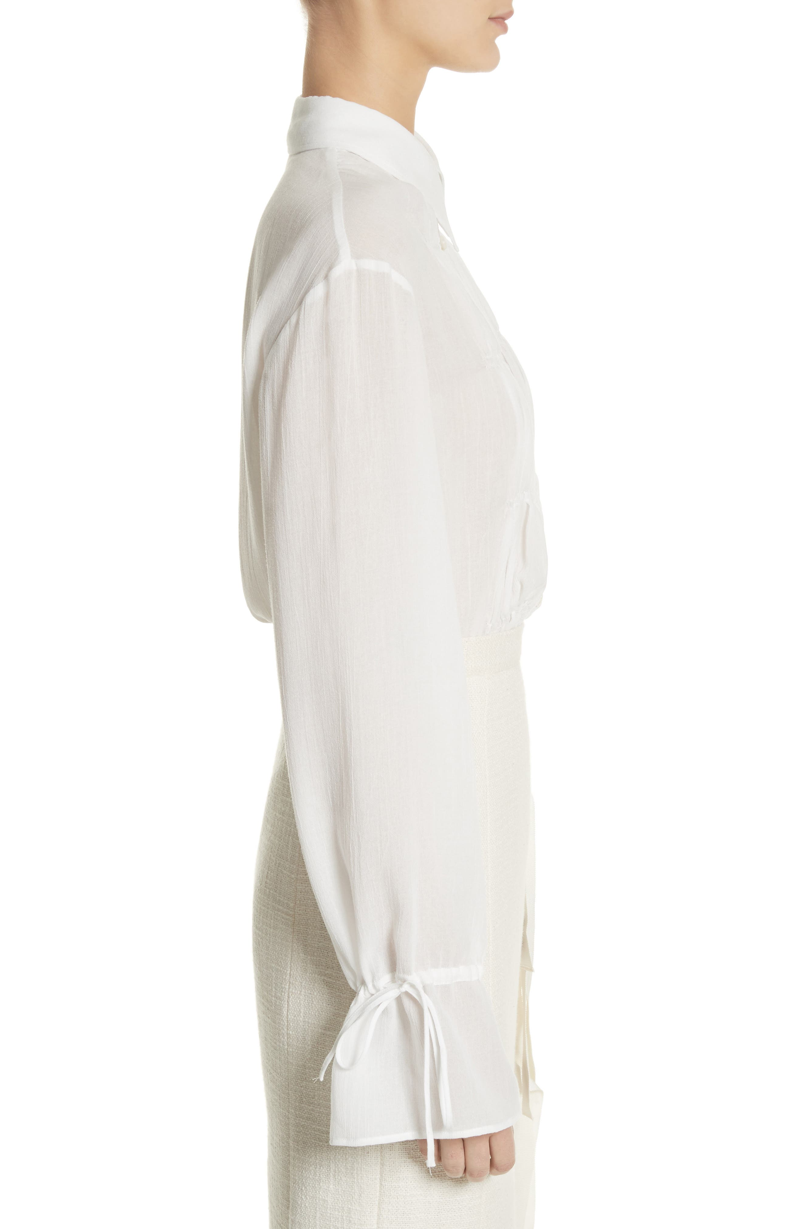 Ruched Detail Blouse,                             Alternate thumbnail 3, color,                             Optic White