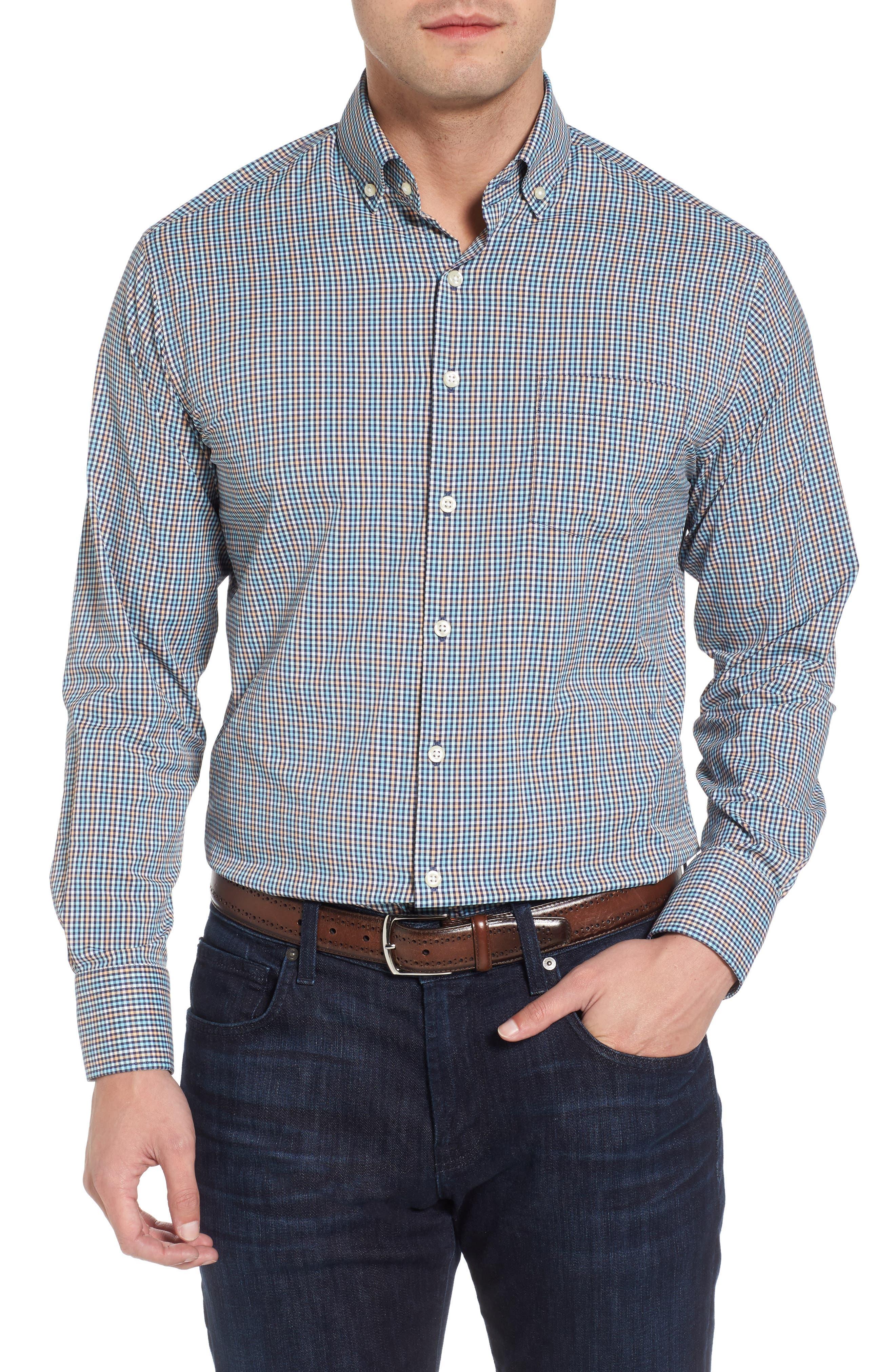 Smedes Regular Fit Check Performance Sport Shirt,                         Main,                         color, Yankee Blue