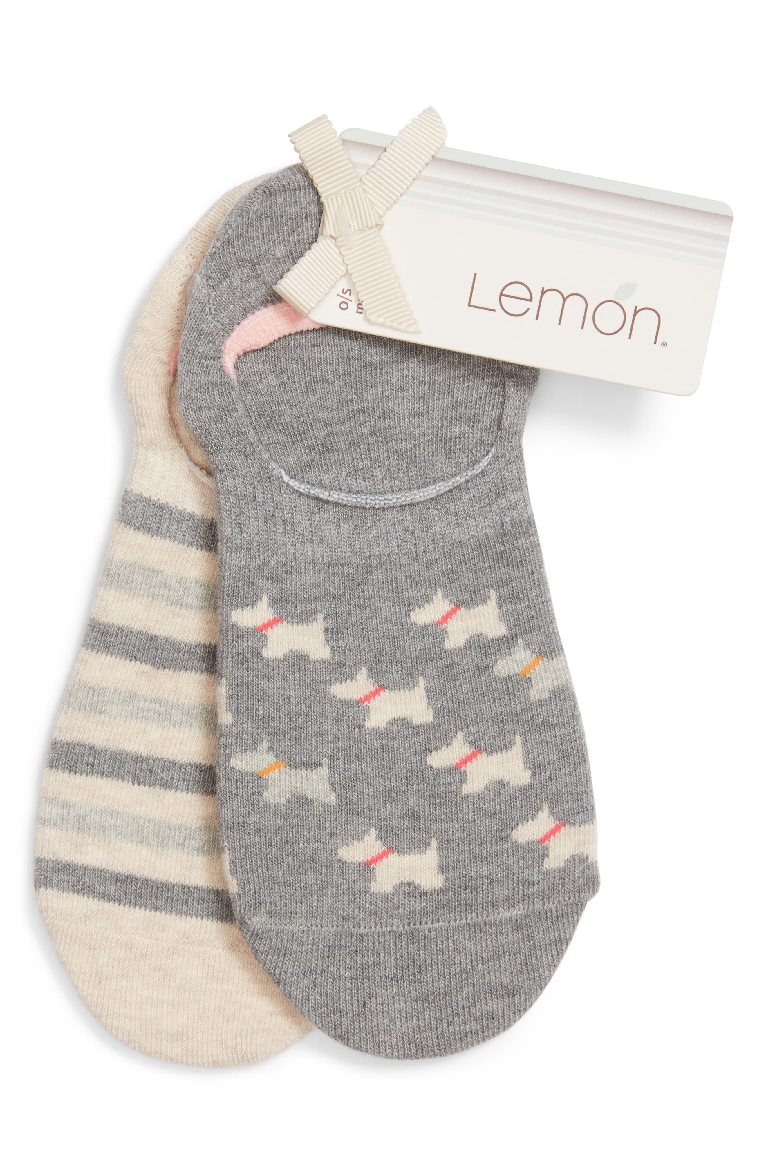 LEMON 2-Pack Scottie Dog No-Show Socks