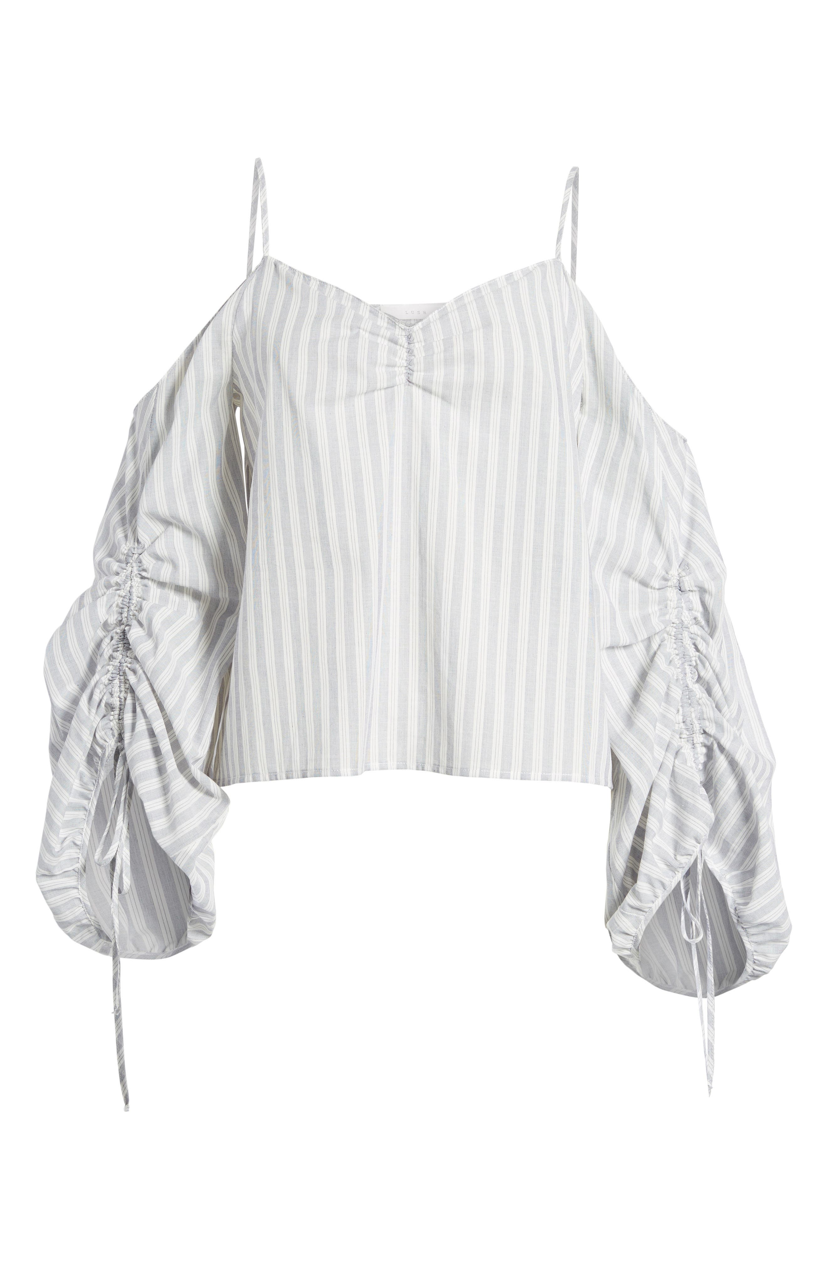 Cinched Balloon Sleeve Top,                             Alternate thumbnail 6, color,                             Grey/ White Stripe