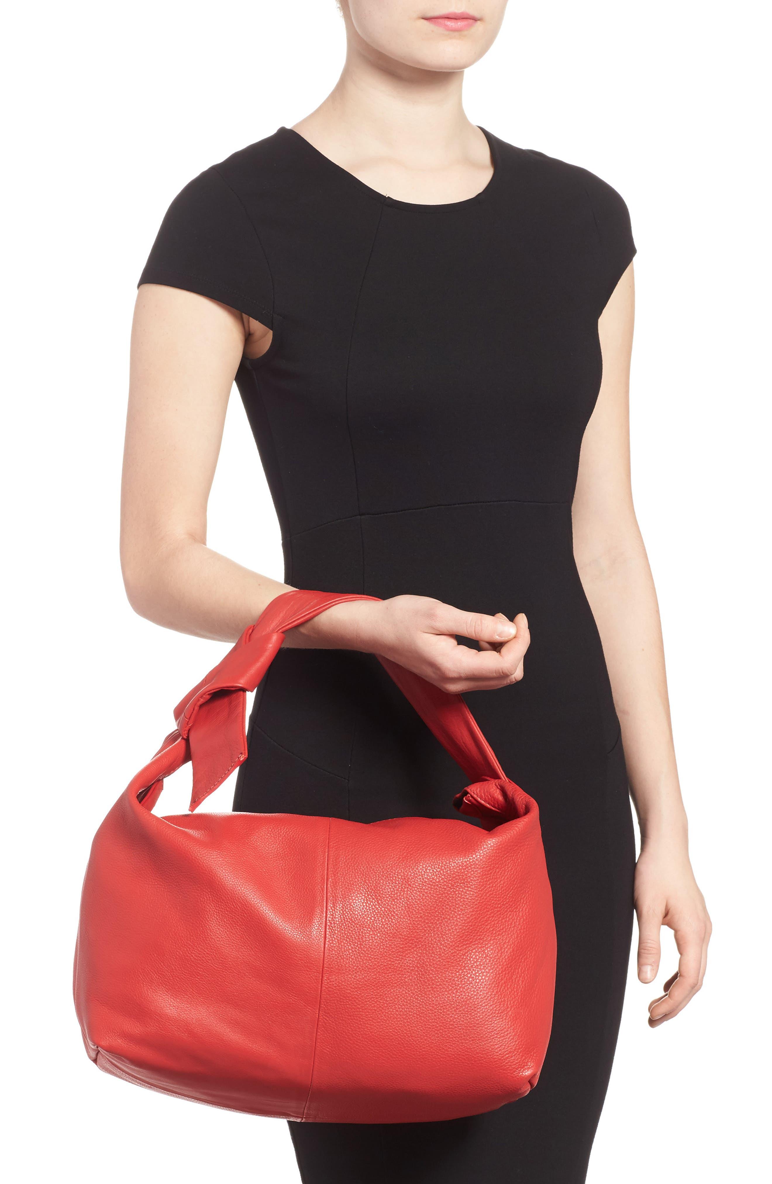 Premium Leather Jasmine Hobo Bag,                             Alternate thumbnail 2, color,                             Red