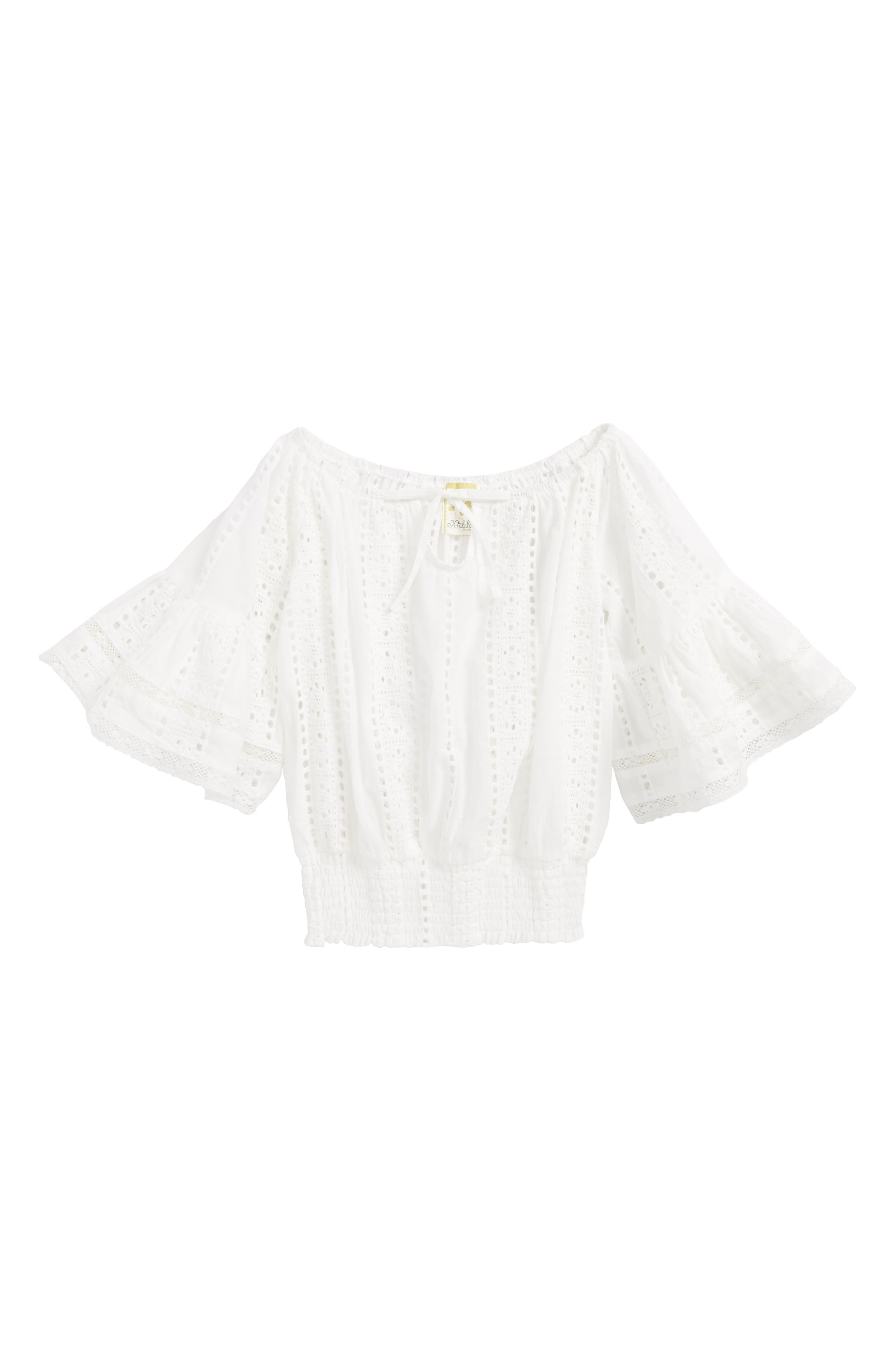 Broderie Anglaise Bell Sleeve Top,                         Main,                         color, Ivory