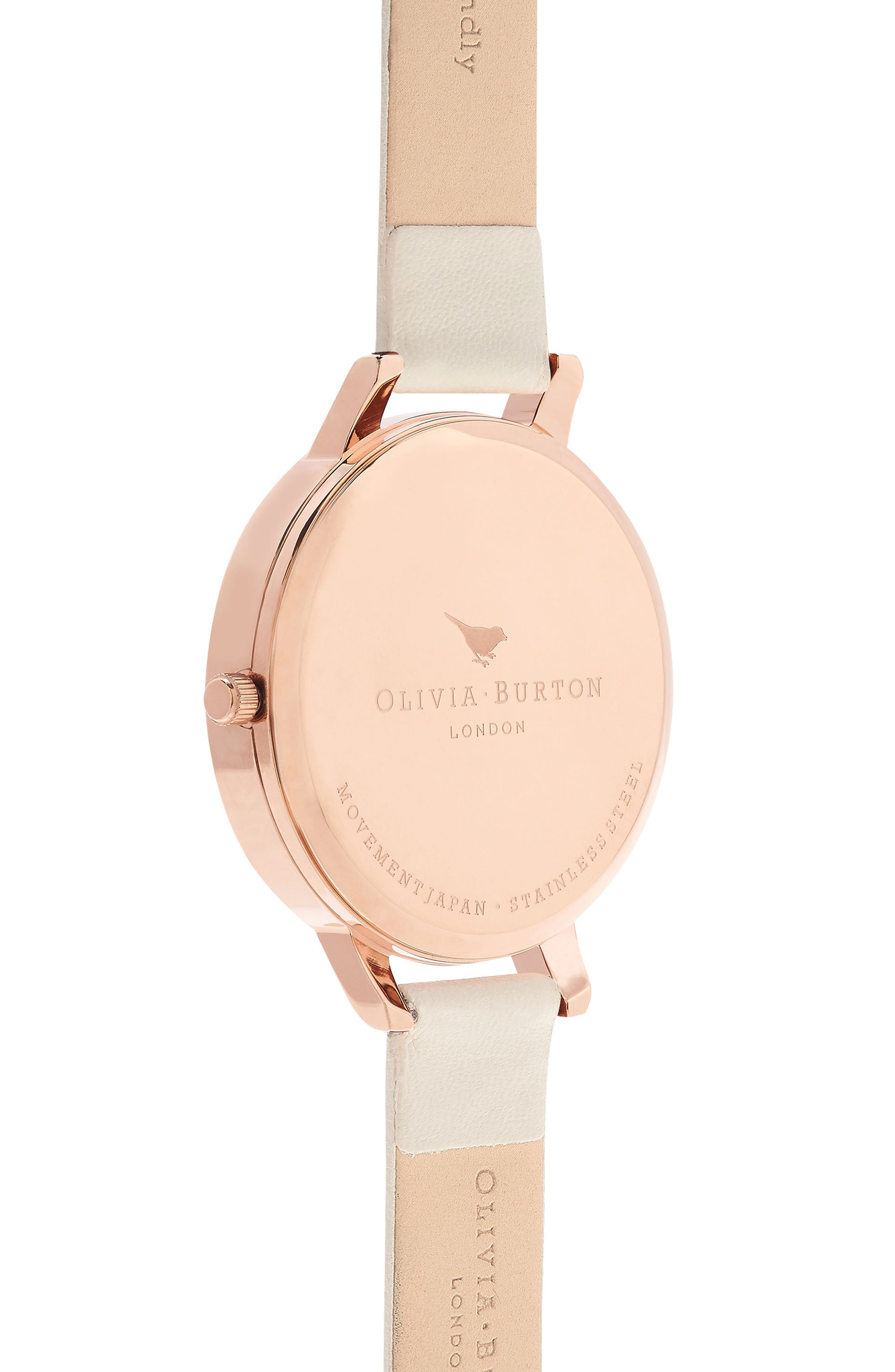Lace Detail Faux Leather Strap Watch, 38mm,                             Alternate thumbnail 3, color,                             Nude/ Grey Floral/ Rose Gold