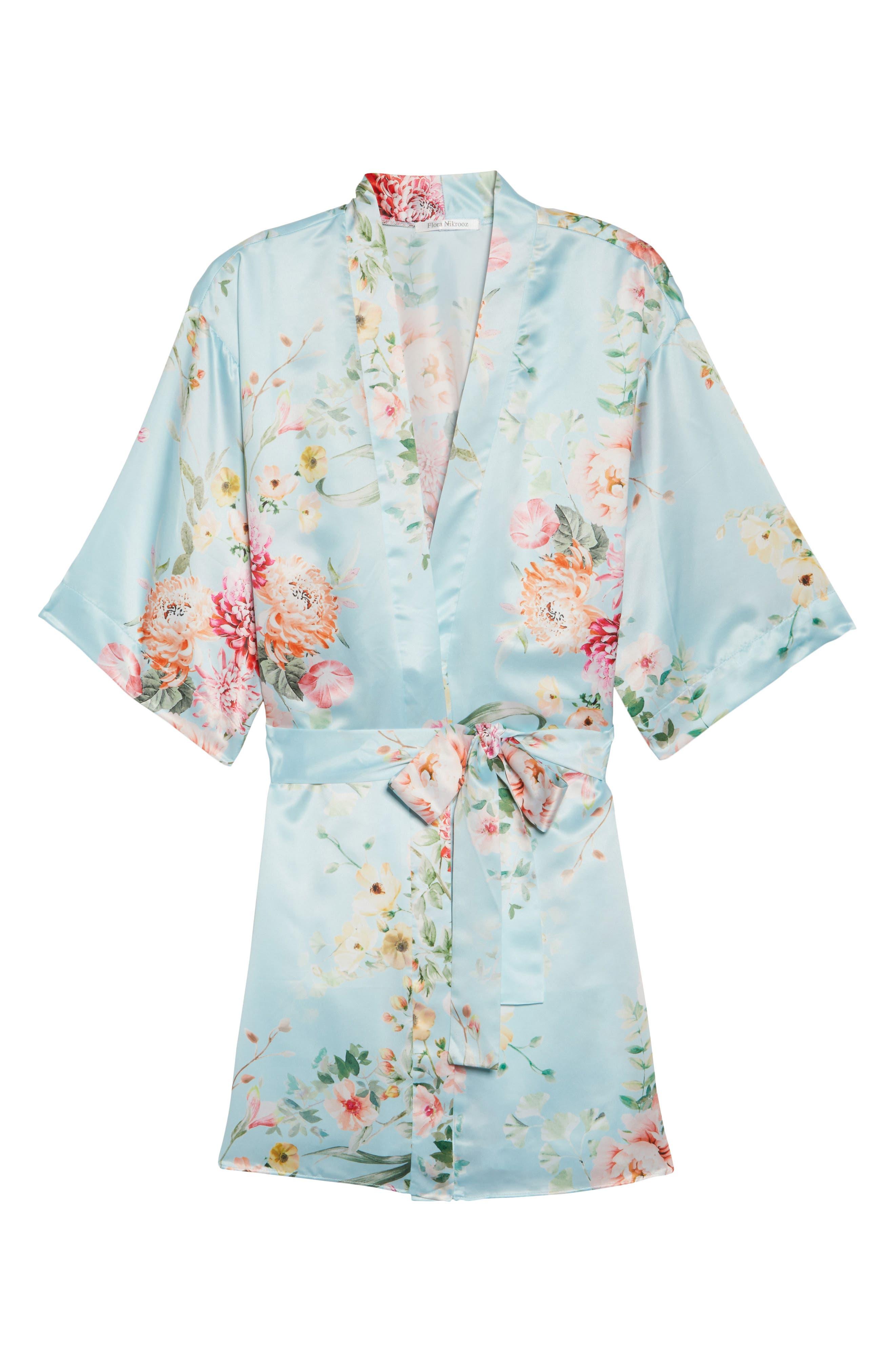 Renata Short Satin Robe,                             Alternate thumbnail 4, color,                             Bridal Blue