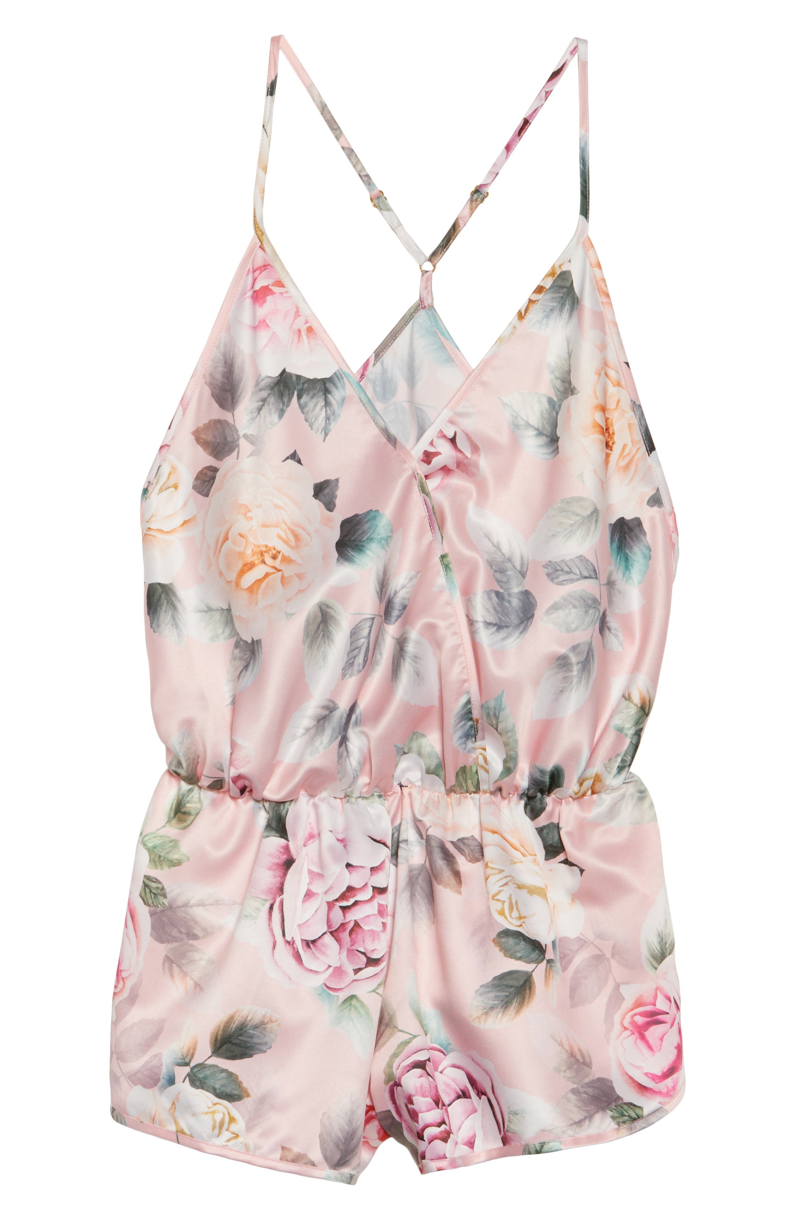 Lilith Satin Romper,                             Alternate thumbnail 4, color,                             Pink