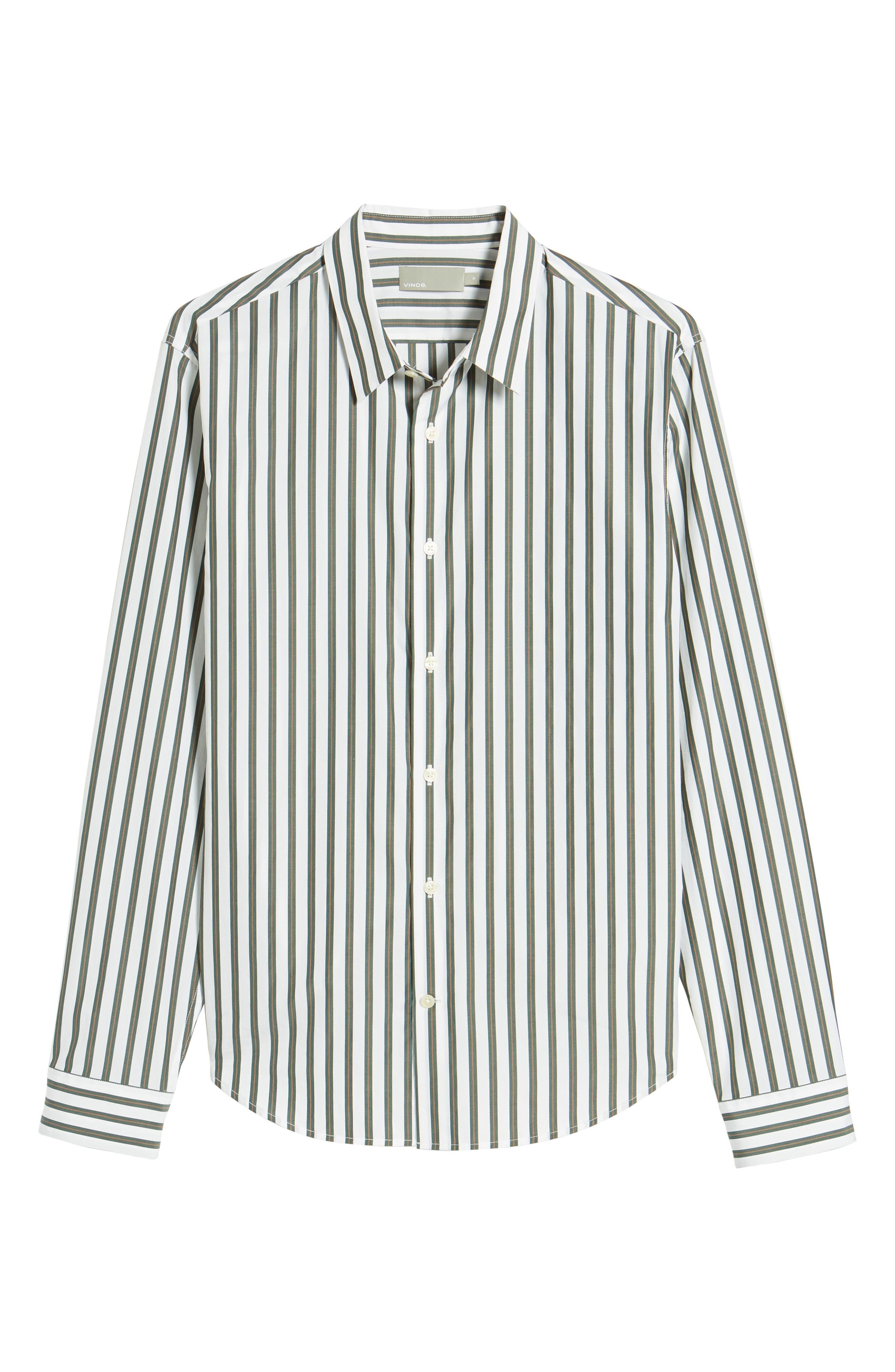 Stripe Sport Shirt,                             Alternate thumbnail 6, color,                             White/ Pine Grove