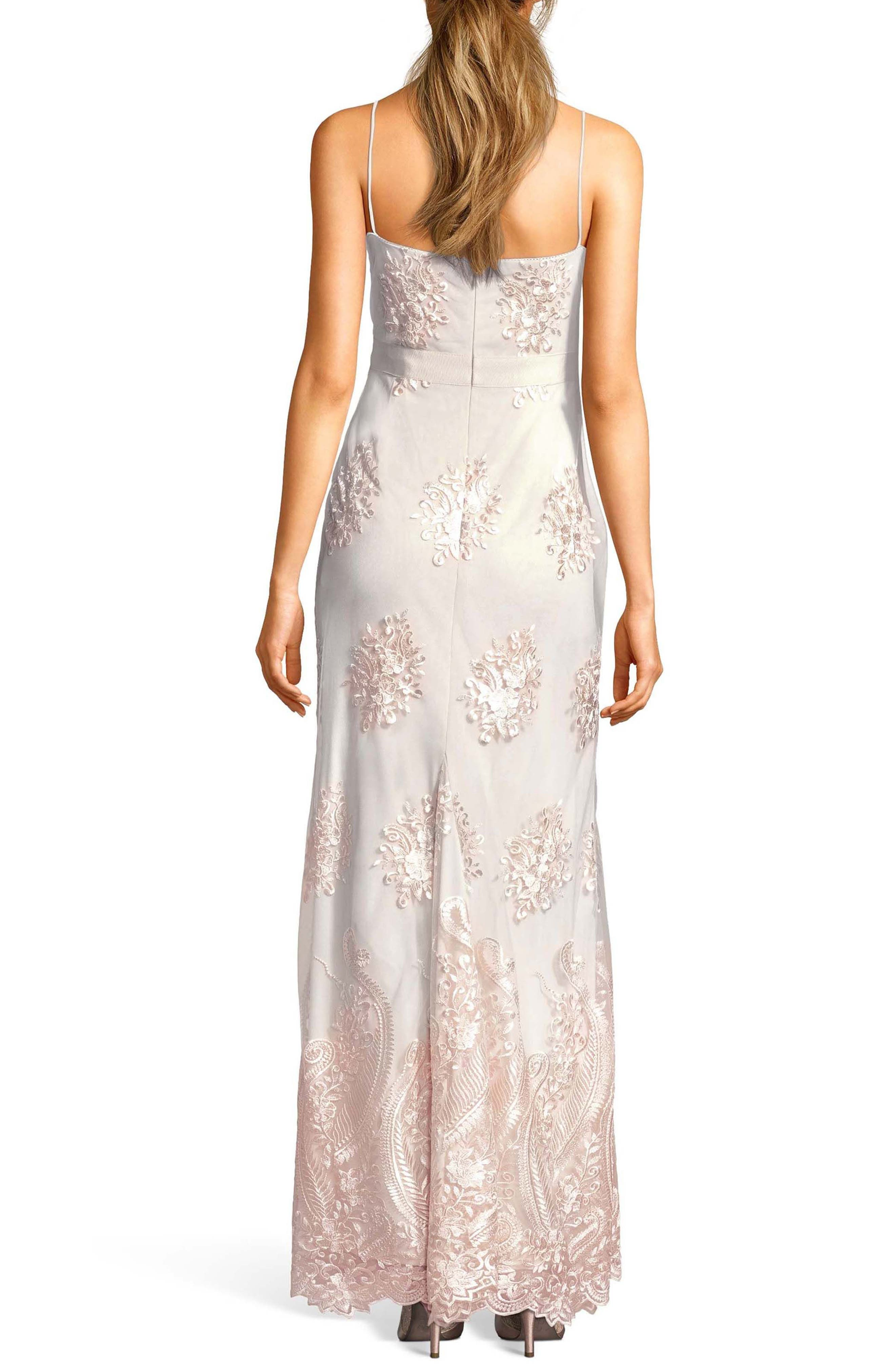 Alternate Image 2  - Adrianna Papell Embroidered Plunging Tulle Gown
