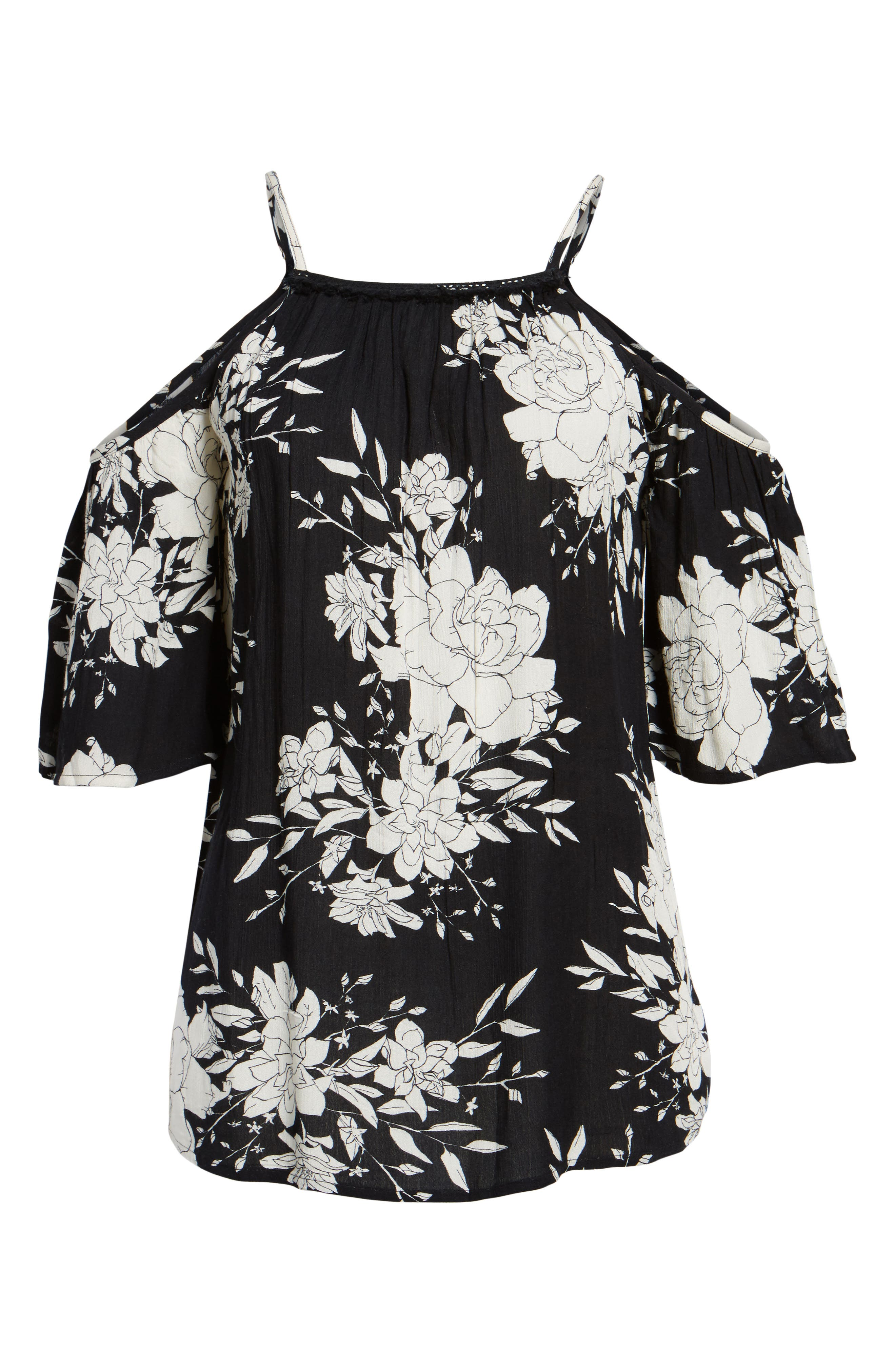 Nor-Summer Storm Off the Shoulder Cover-Up,                         Main,                         color, Black/ White