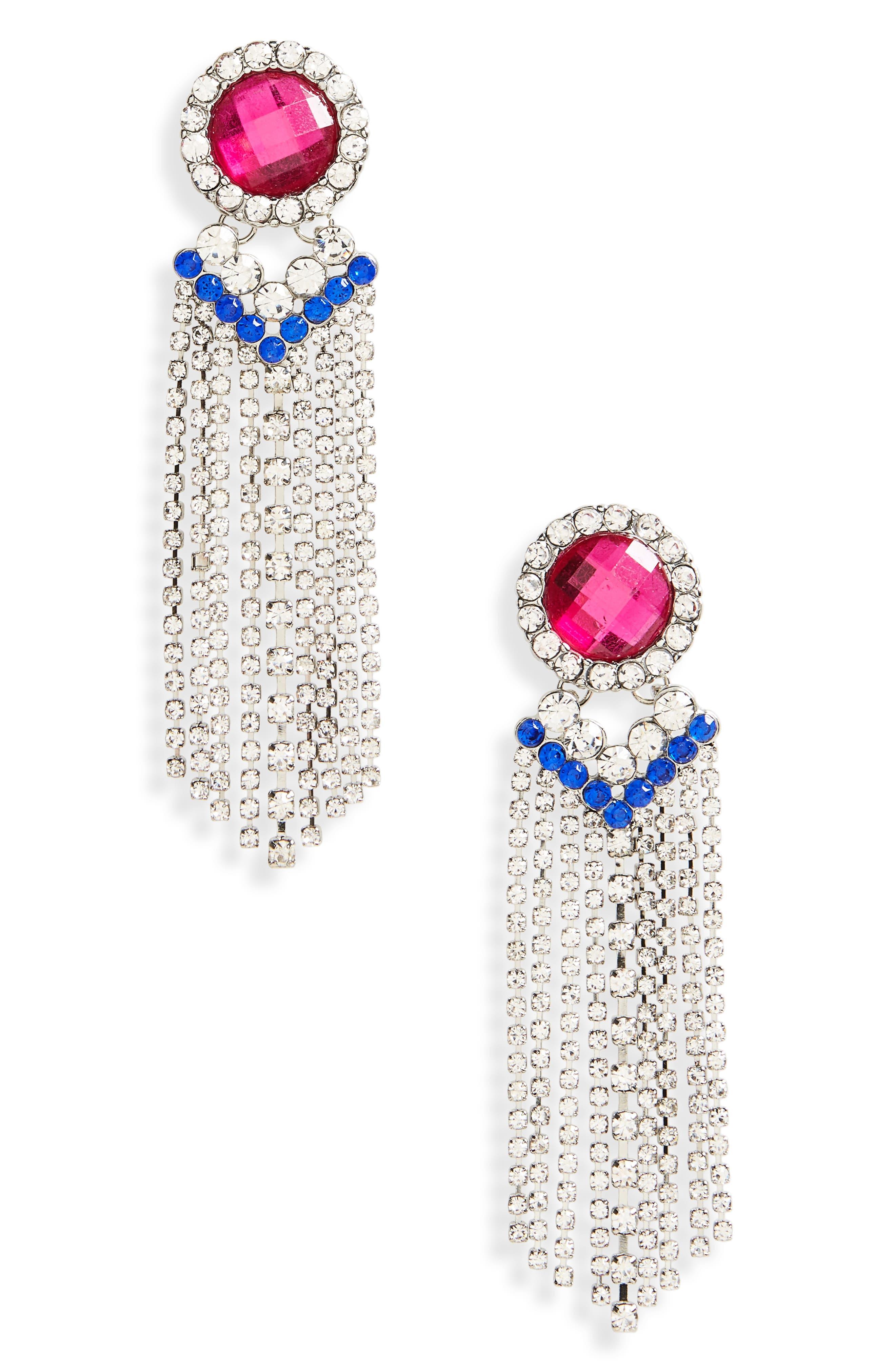 Crystal Fringe Earrings,                         Main,                         color, Crystal/ Pink/ Blue
