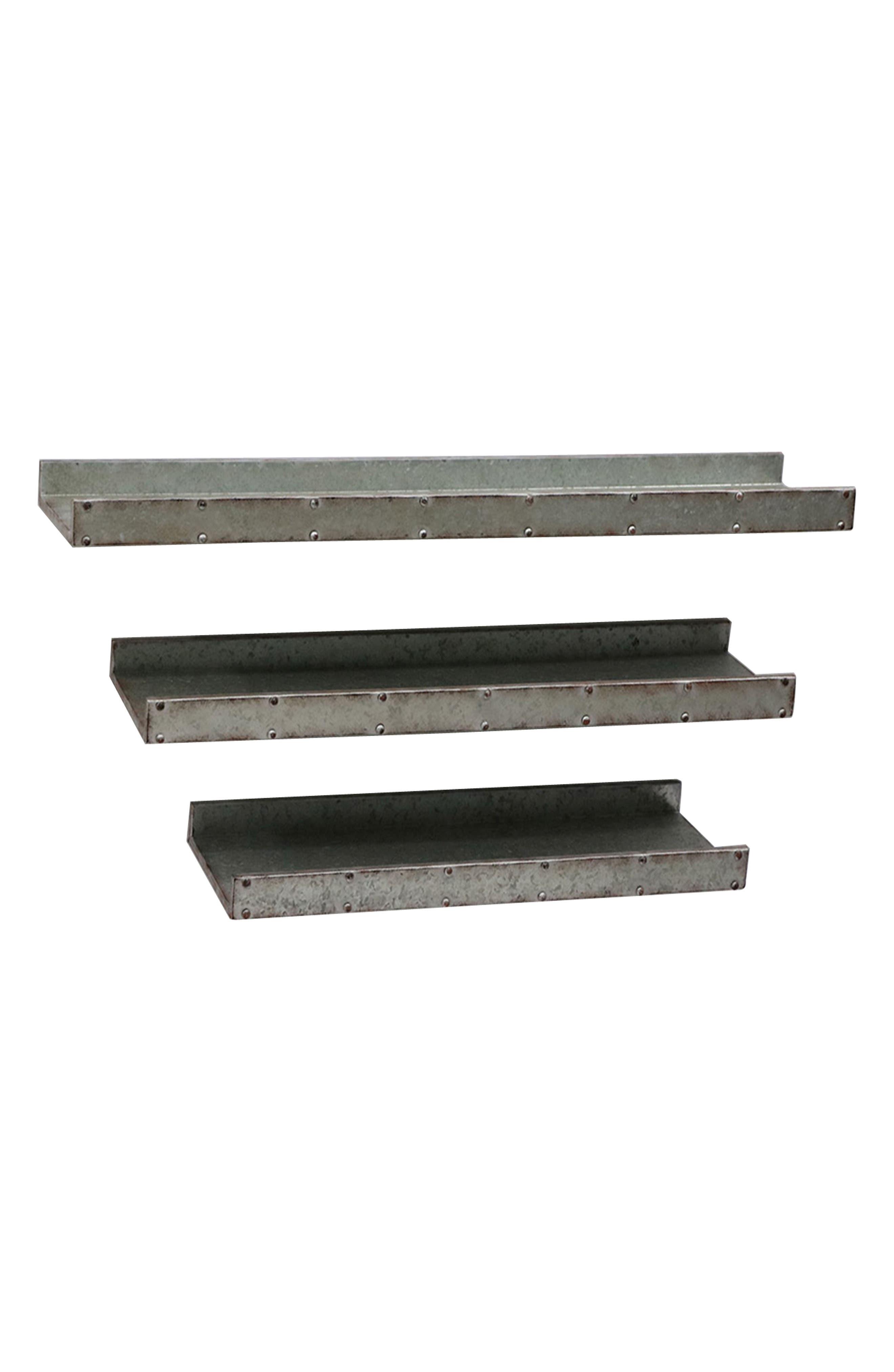 Set of 3 Galvanized Shelves,                         Main,                         color, Grey