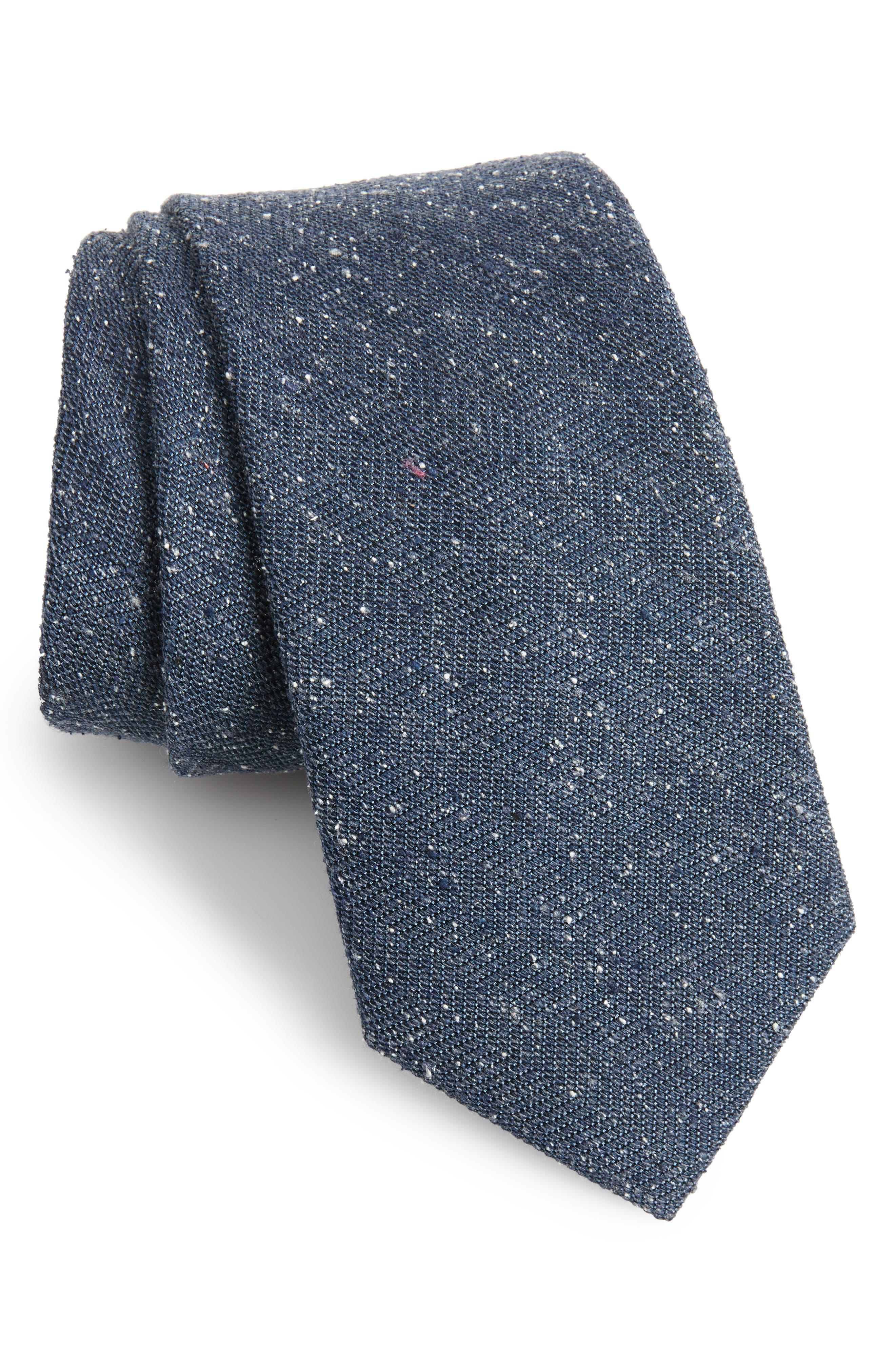Herringbone Silk Tie,                         Main,                         color, Navy