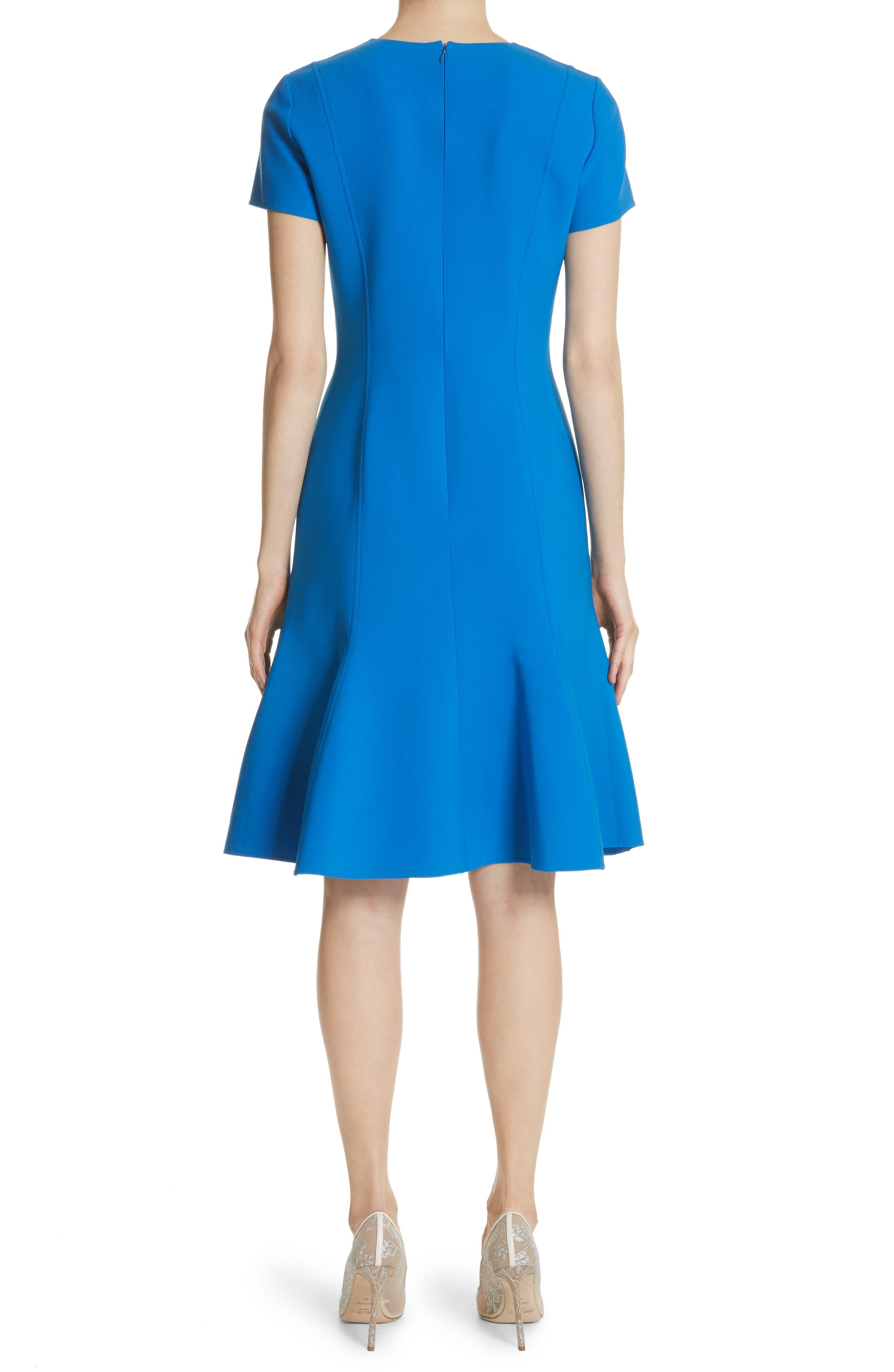 Flutter Hem Wool Blend Sheath Dress,                             Alternate thumbnail 2, color,                             Cobalt