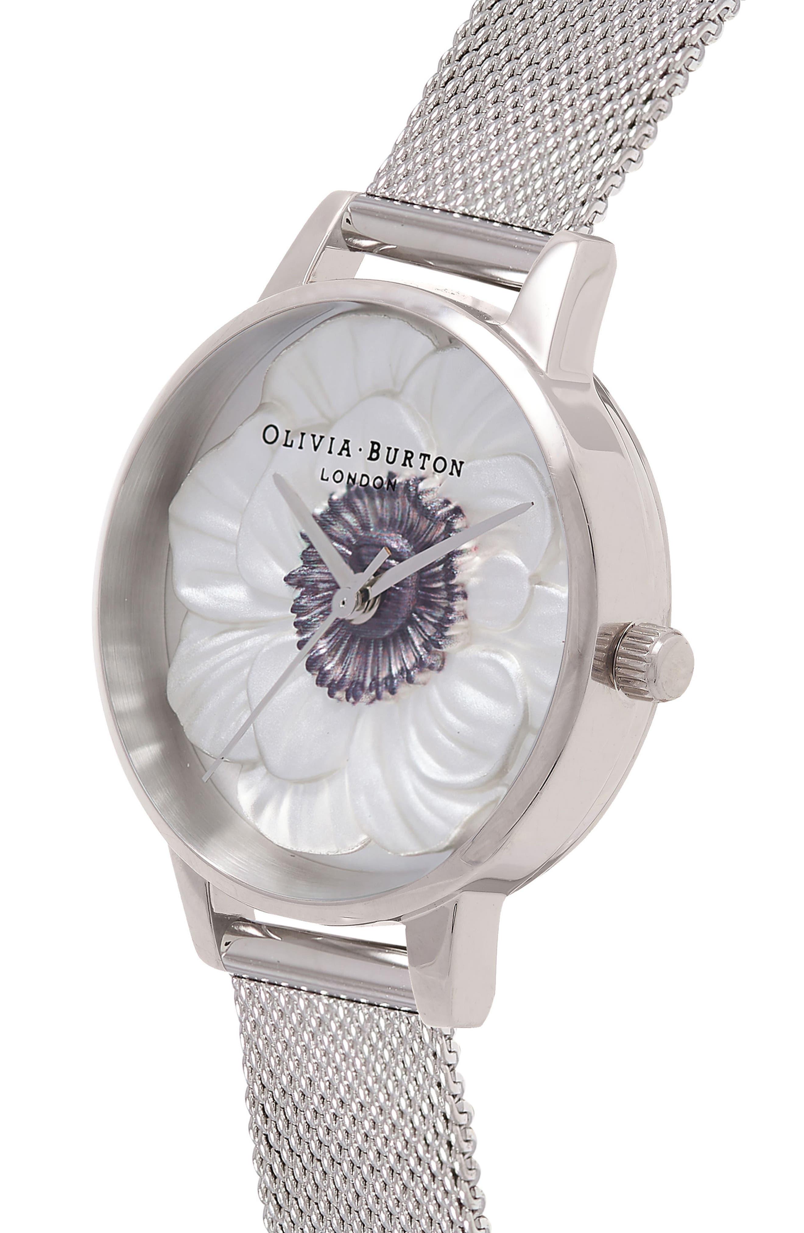3D Anemone Mesh Strap Watch, 30mm,                             Alternate thumbnail 4, color,                             Silver/ Black/ Silver