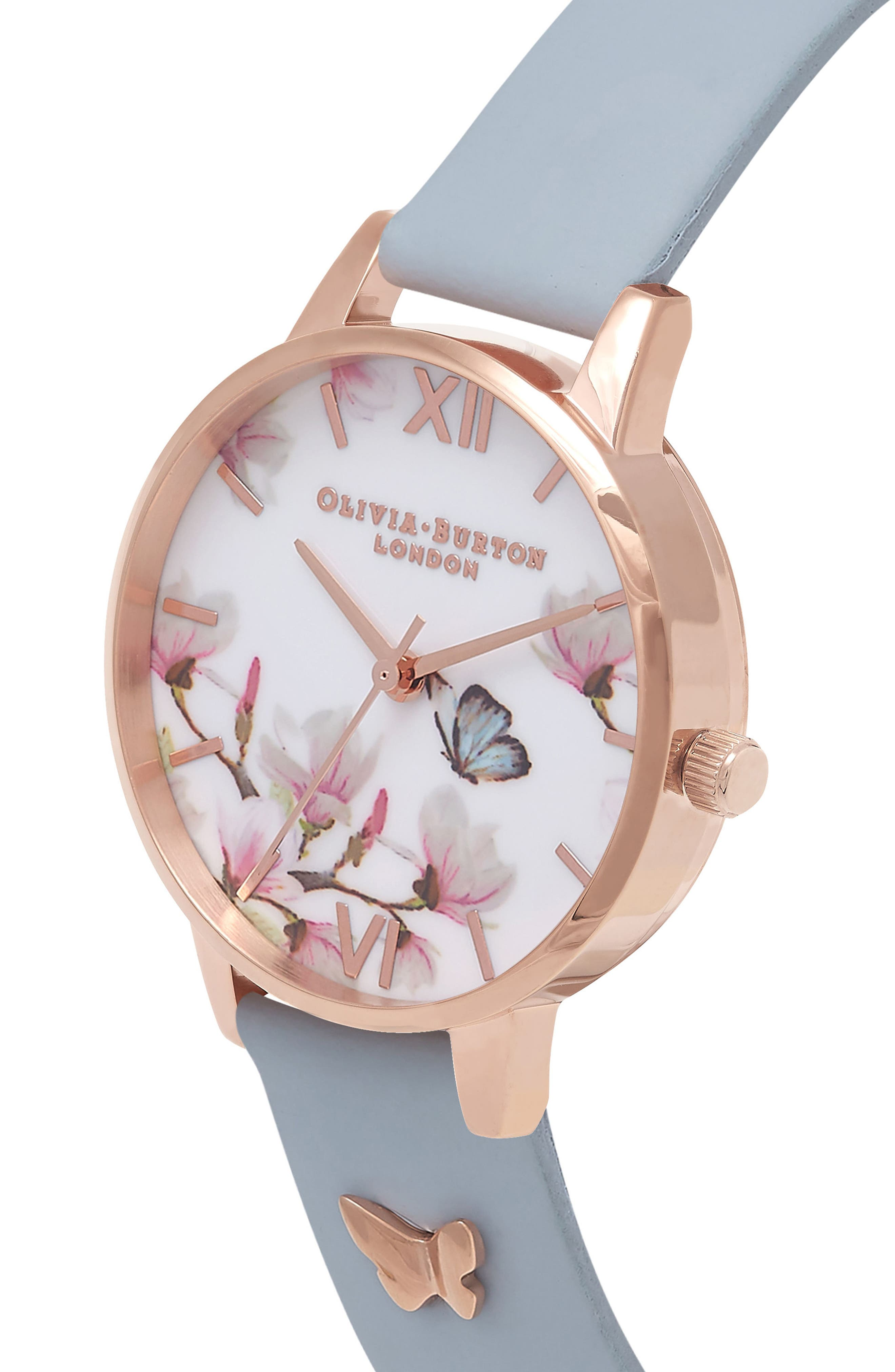 Pretty Blossom Leather Strap Watch, 30mm,                             Alternate thumbnail 3, color,                             Blue/ White / Rose Gold