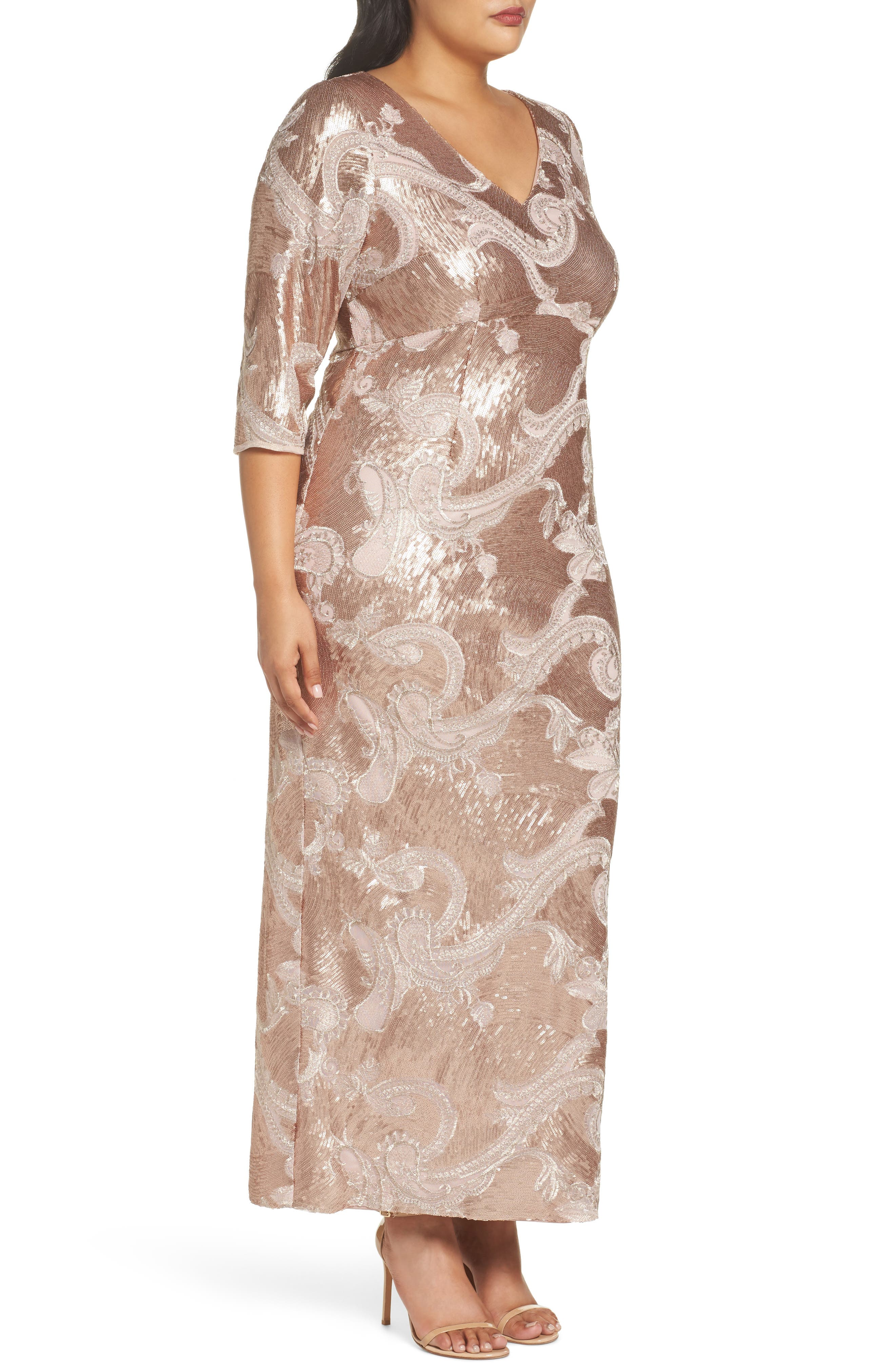 Sequin Lace Empire Gown,                             Alternate thumbnail 3, color,                             Rose Gold