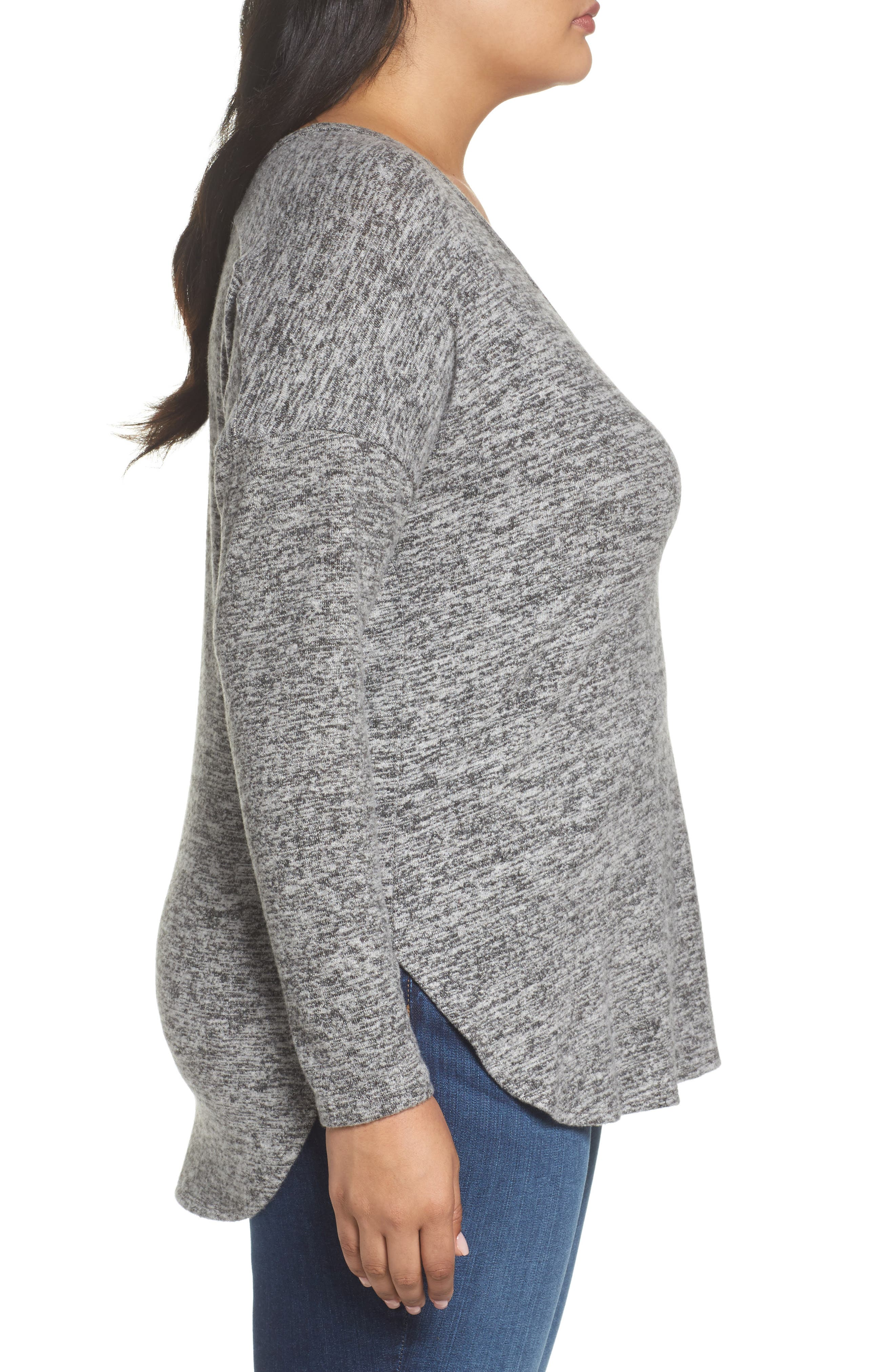 High/Low Knit Top,                             Alternate thumbnail 3, color,                             Charcoal Grey