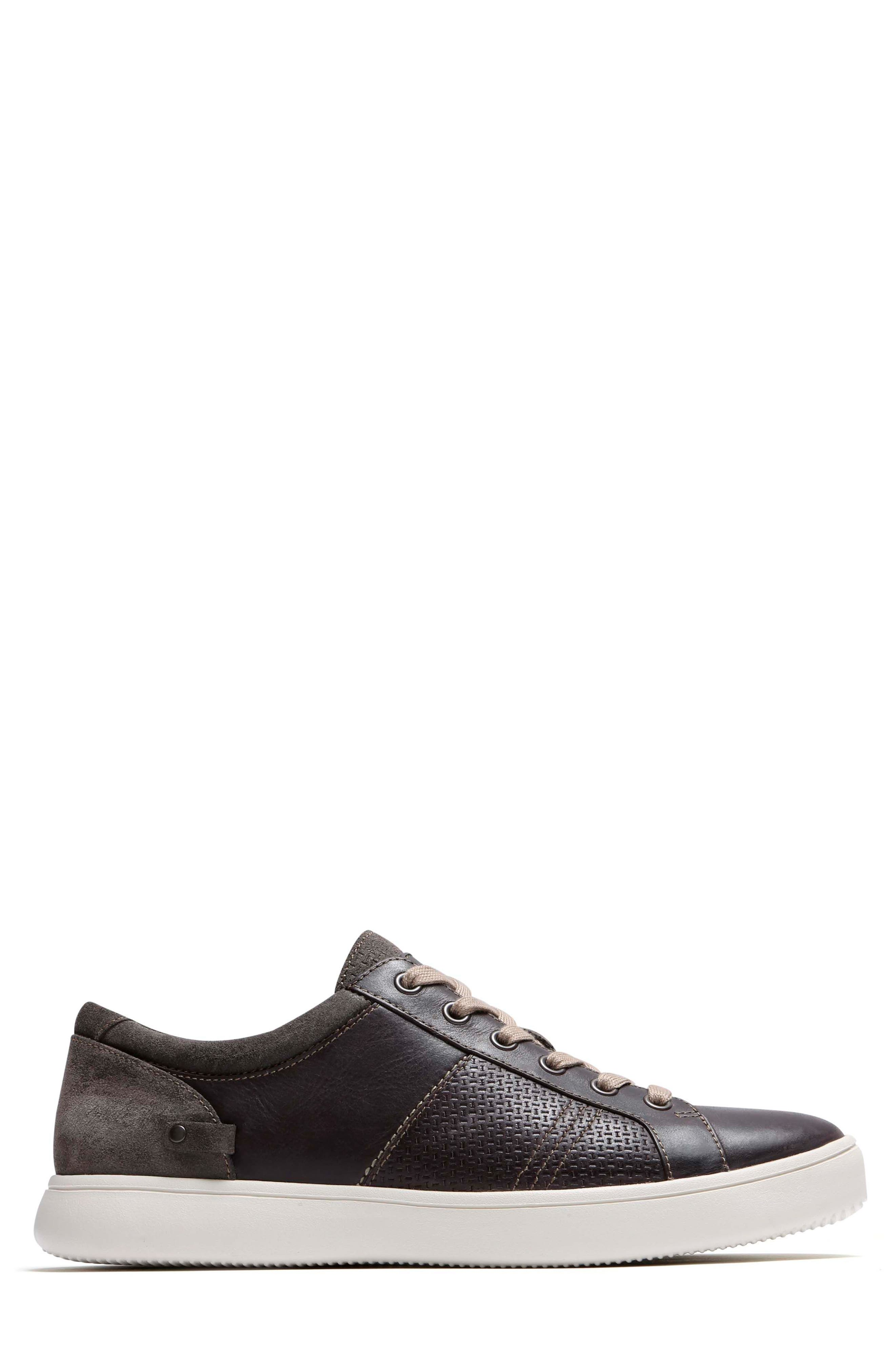 Colle Textured Sneaker,                             Alternate thumbnail 3, color,                             Coffee Leather