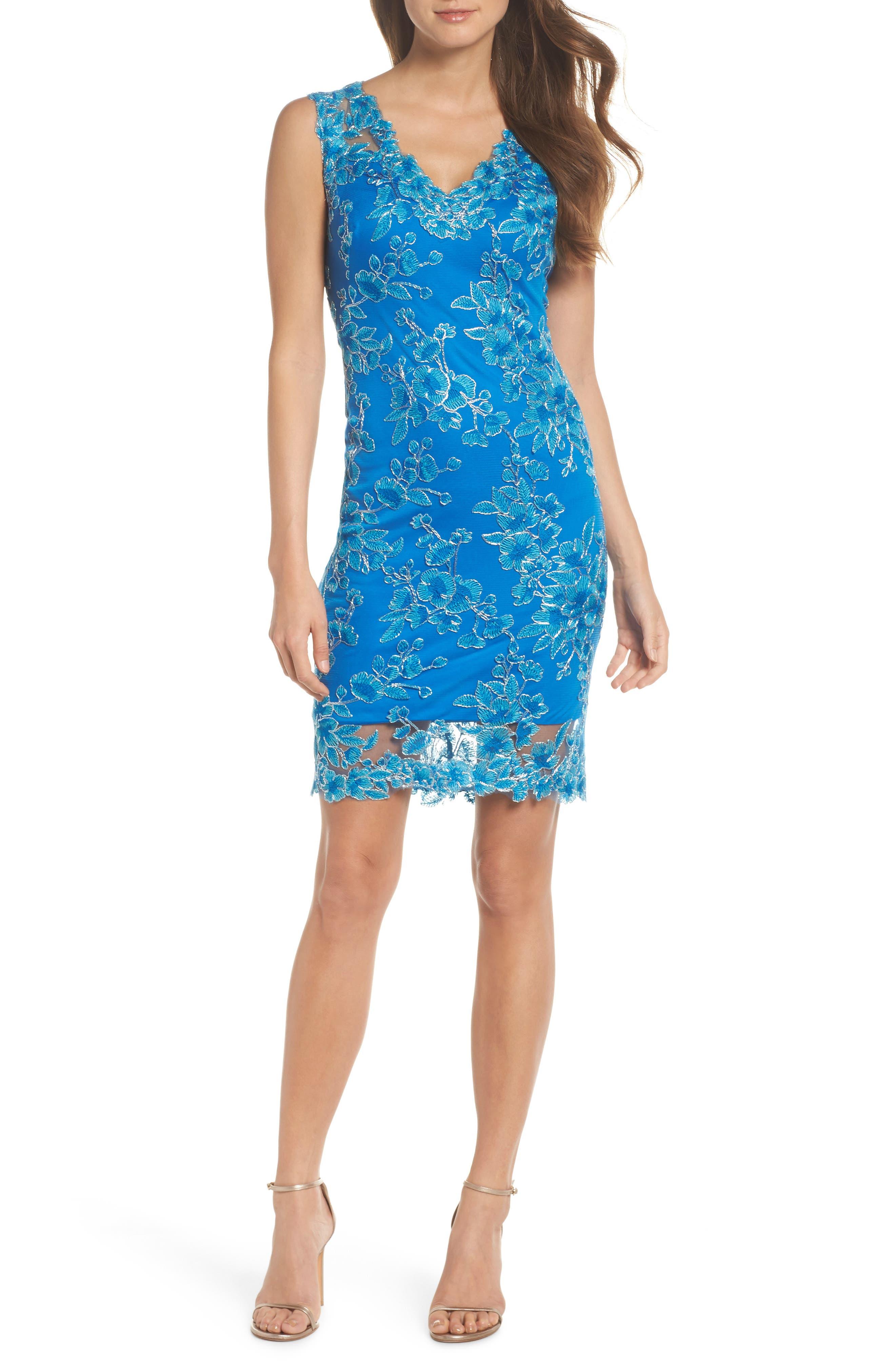Embroidered Sheath Dress,                         Main,                         color, Horizon Blue