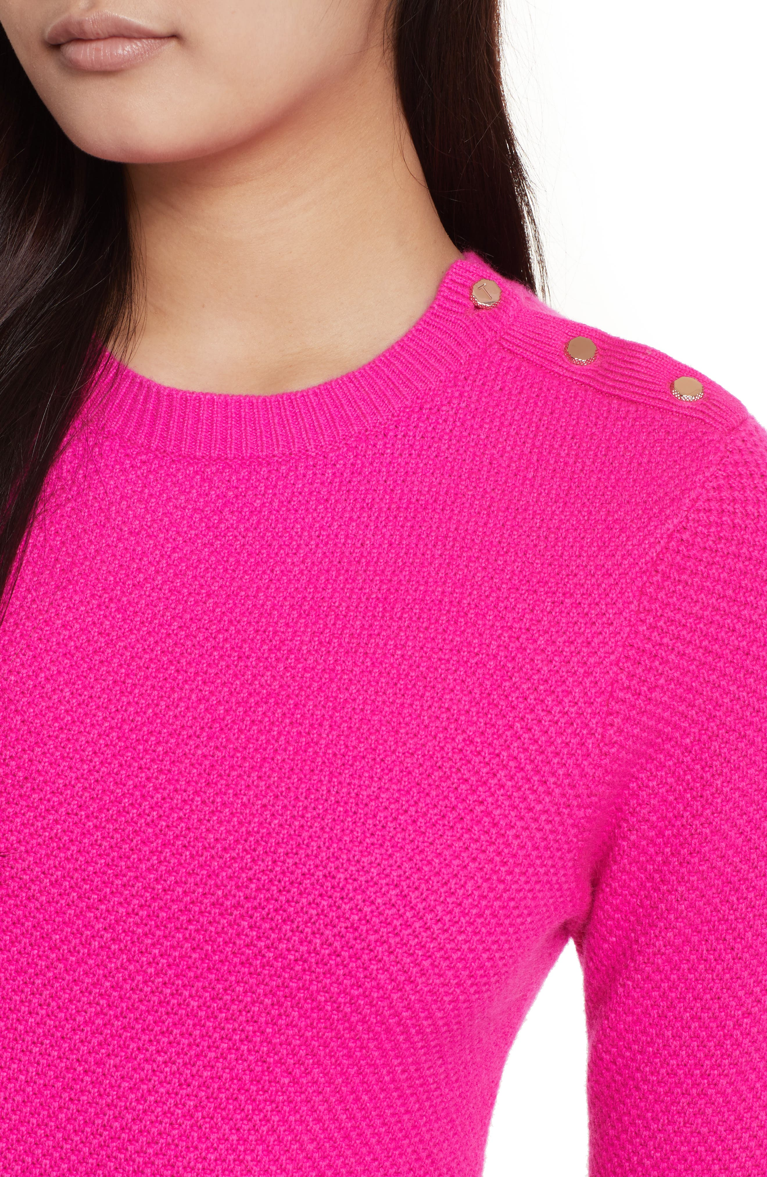 Textured Merino-Wool-Blend Sweater,                             Alternate thumbnail 4, color,                             Bright Pink