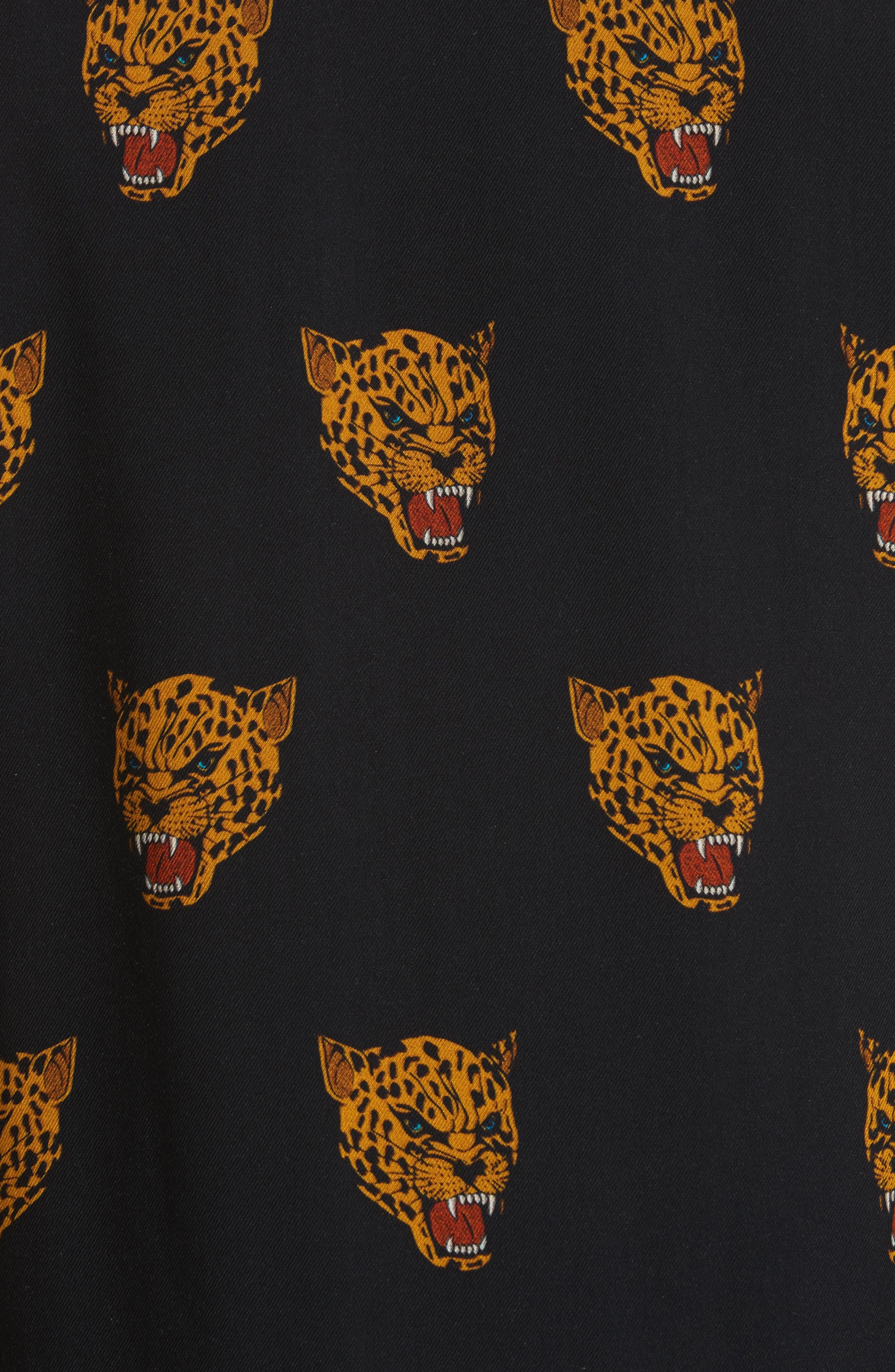 Tiger Print Camp Shirt,                             Alternate thumbnail 5, color,                             Black