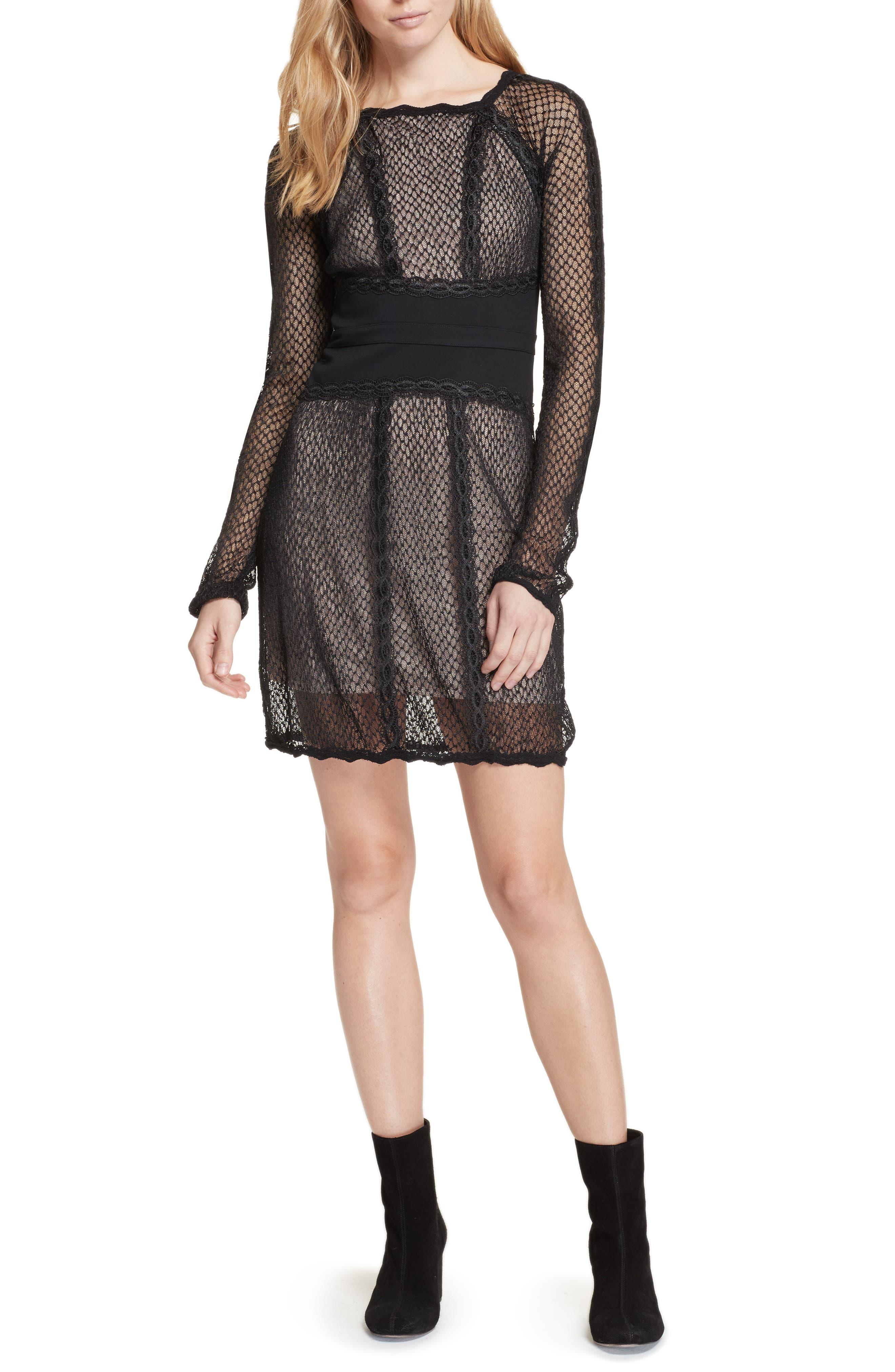 Lace & Mesh Body-Con Dress,                         Main,                         color, Black