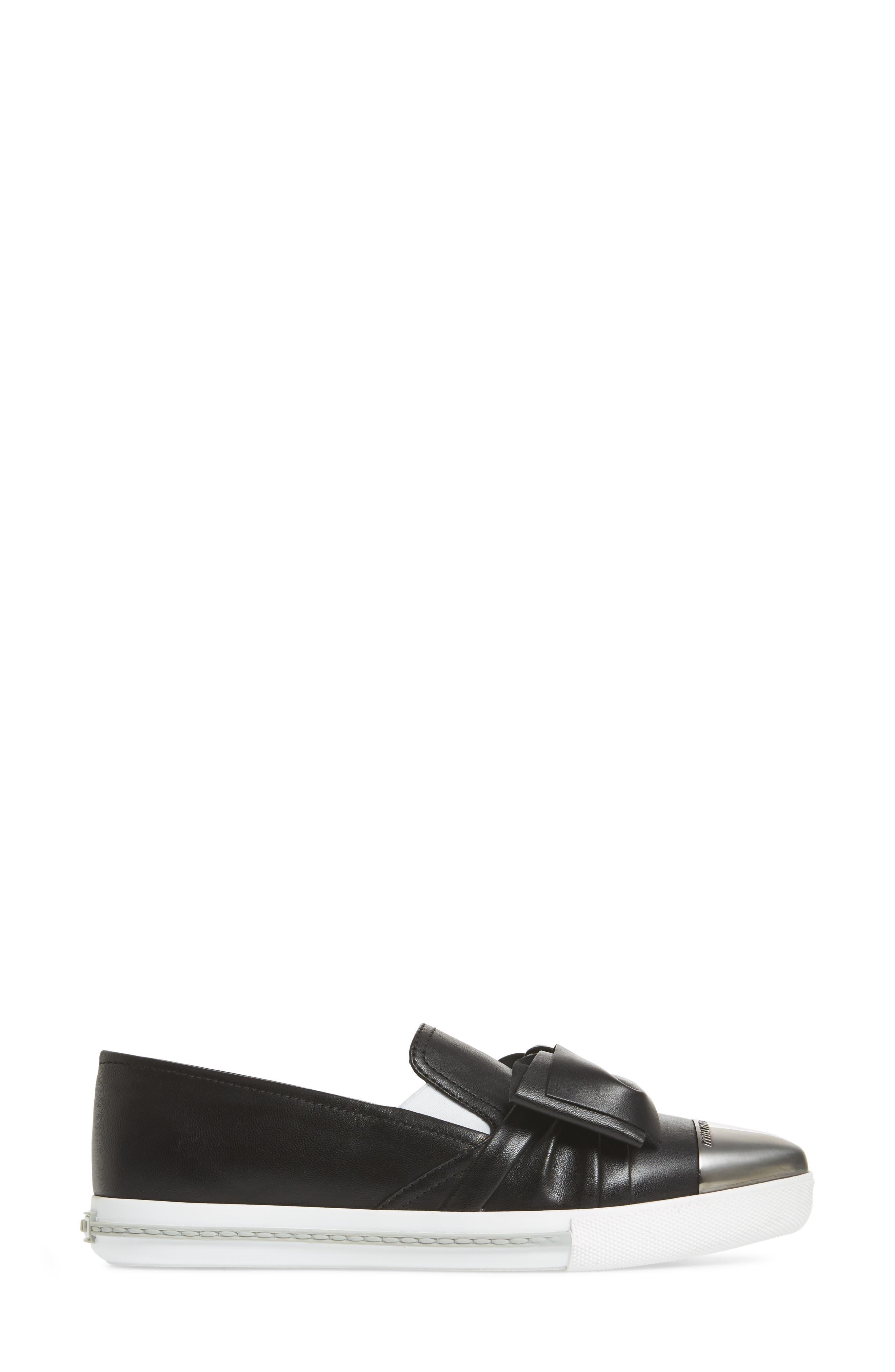 Cap Toe Hidden Wedge Sneaker,                             Alternate thumbnail 3, color,                             Black