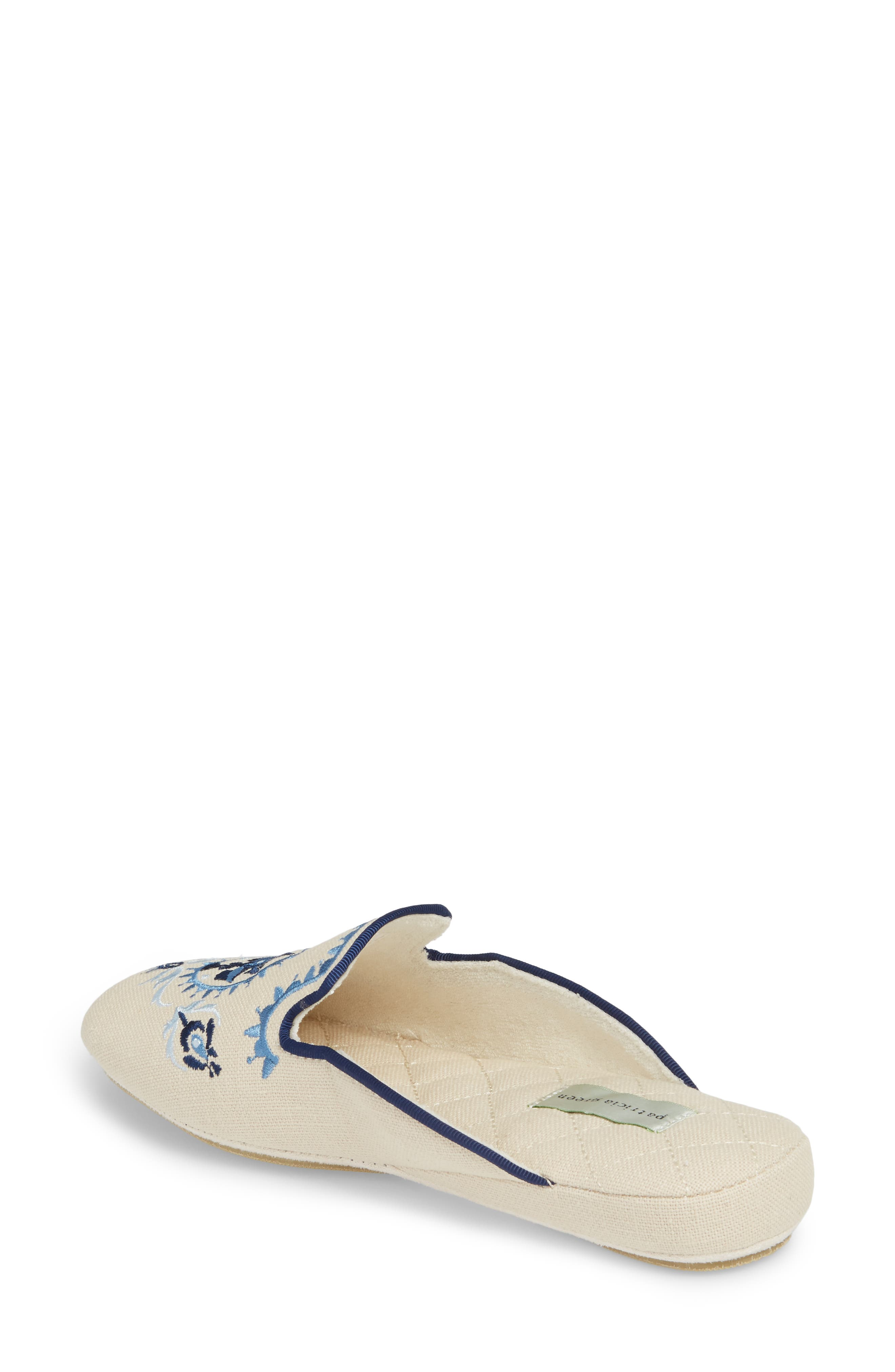 Rosa Embroidered Slipper,                             Alternate thumbnail 2, color,                             Blue Fabric