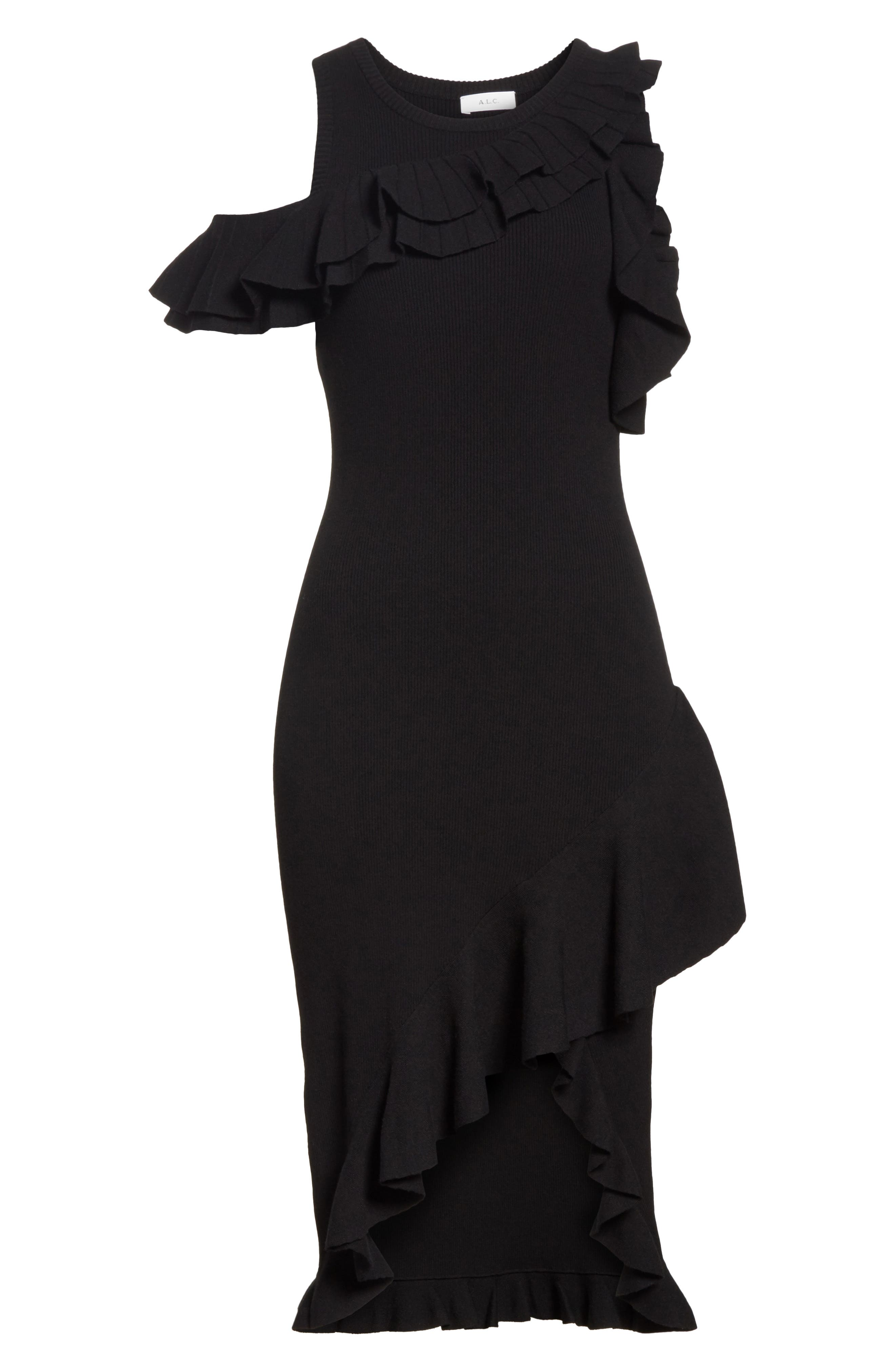 Kellam Ruffle Body-Con Dress,                             Alternate thumbnail 6, color,                             Black