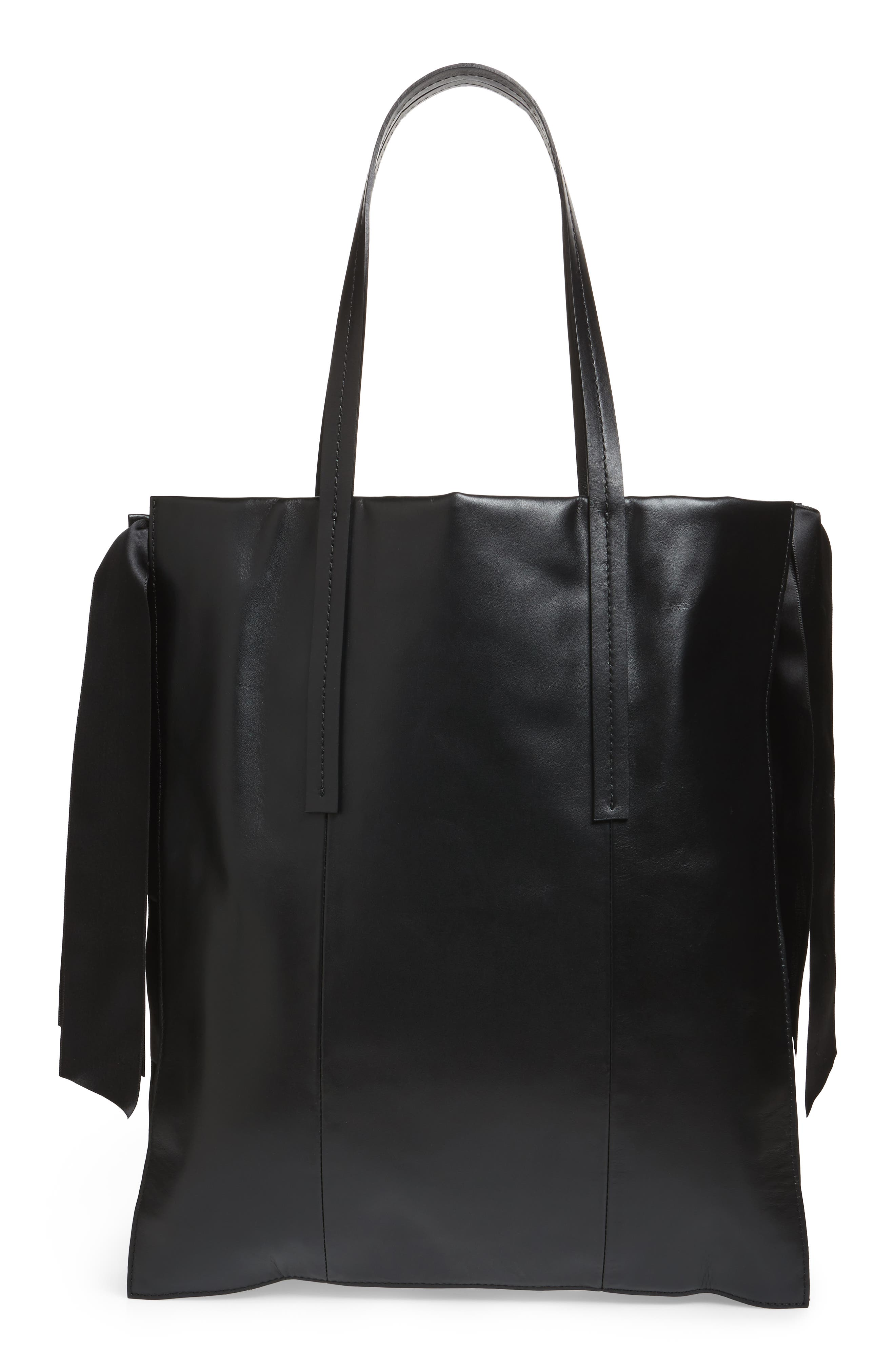 Premium Leather Grace Tote Bag,                             Alternate thumbnail 3, color,                             Black
