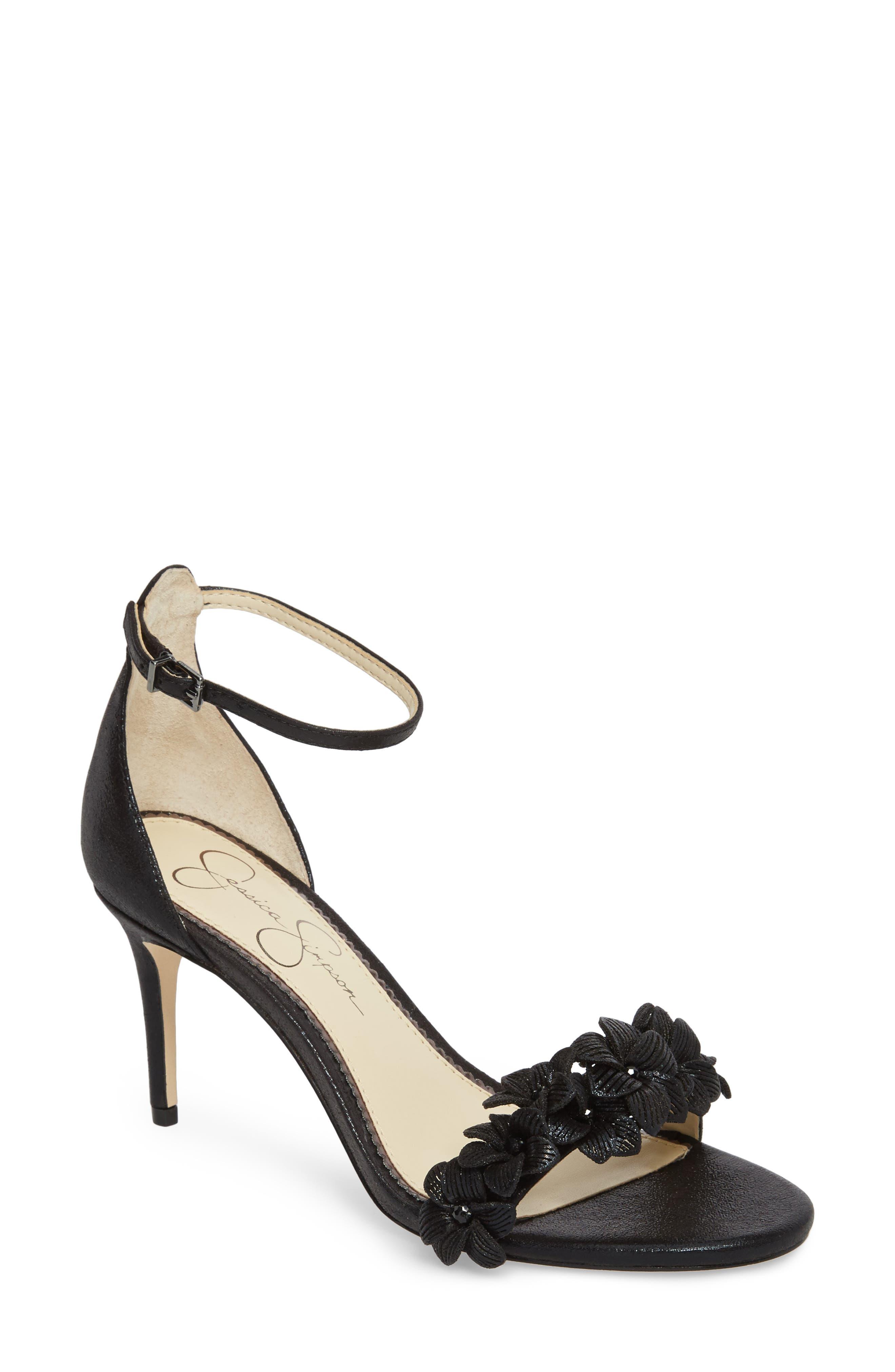 Pouline Sandal,                             Main thumbnail 1, color,                             Black Fabric