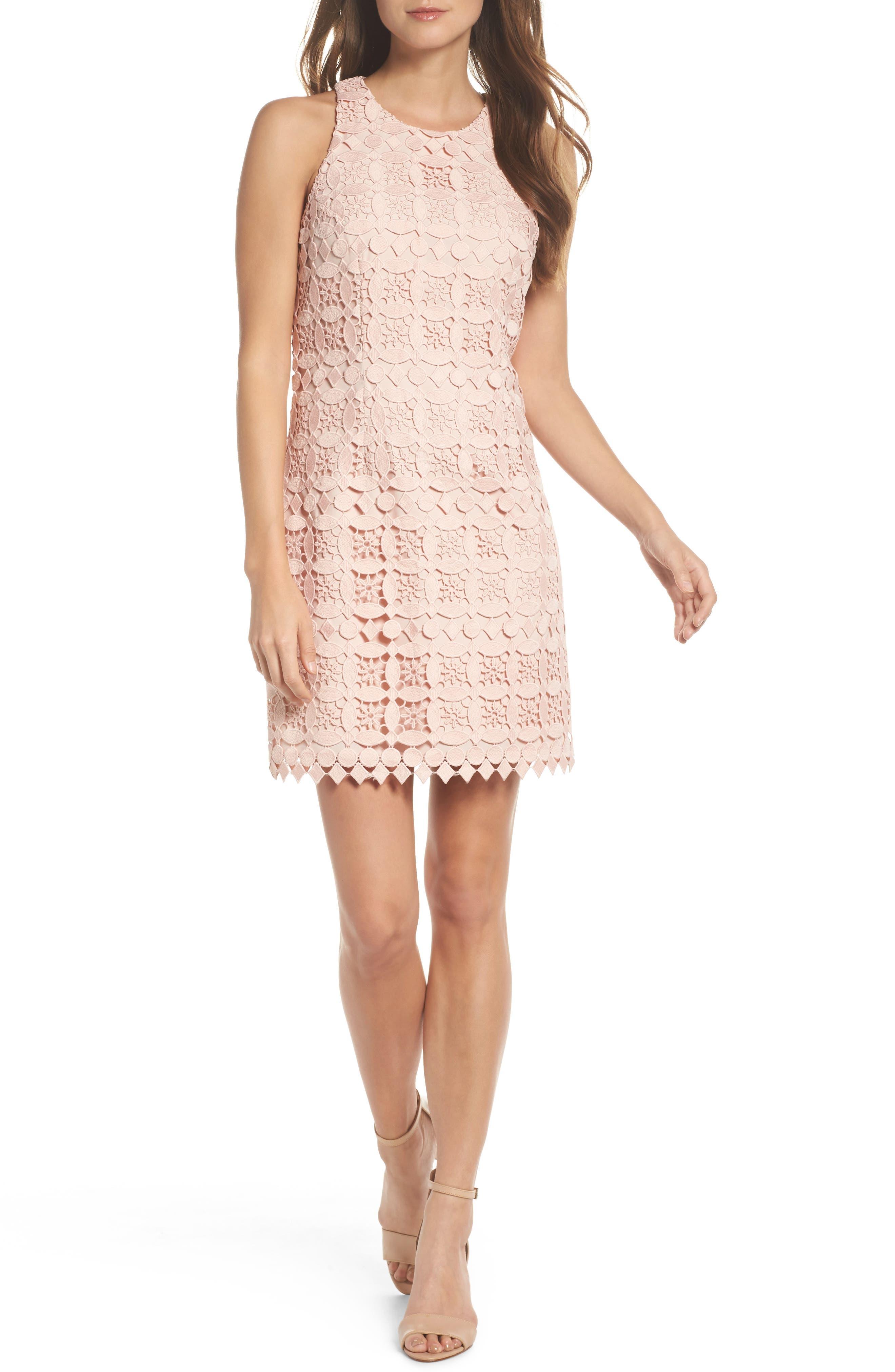 Lace Racerback Shift Dress,                         Main,                         color, Blush